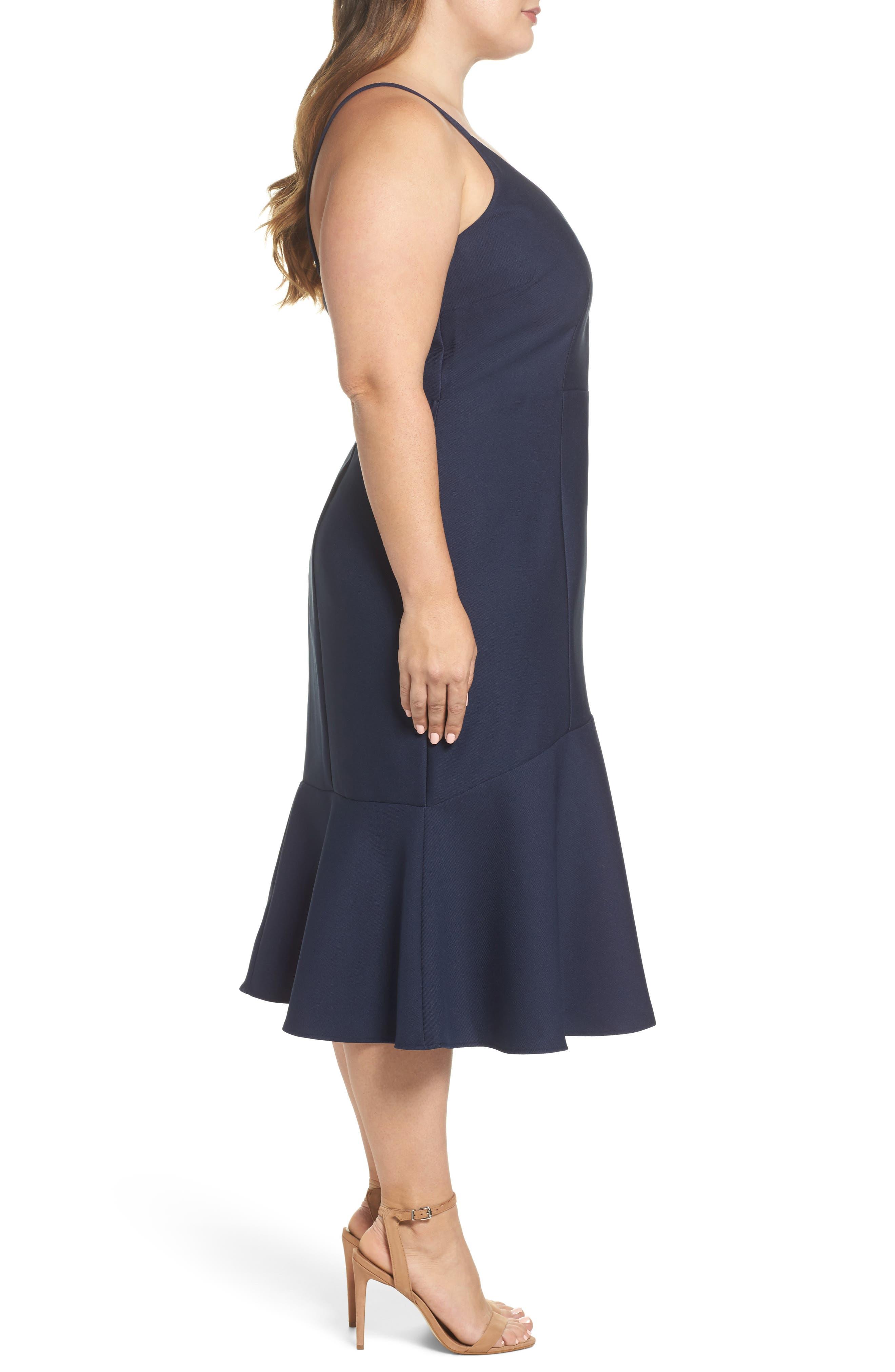 Azalea Flounce Hem Dress,                             Alternate thumbnail 3, color,                             400