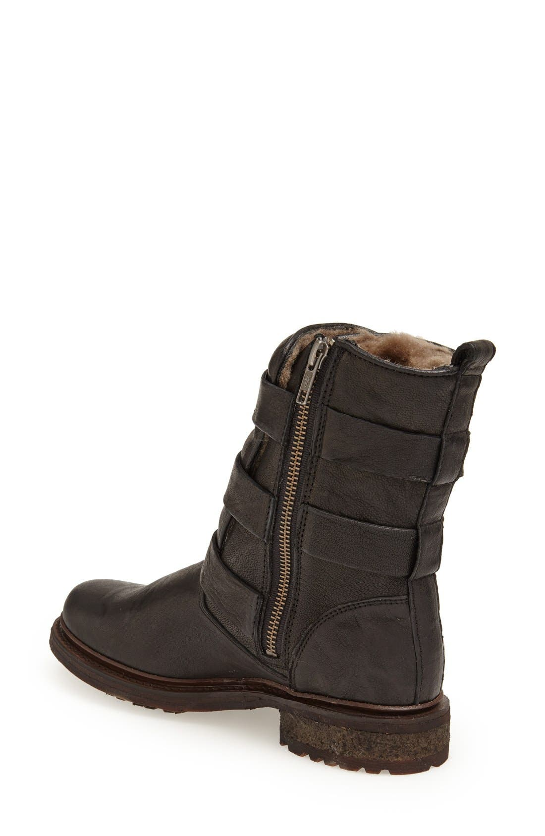 'Valerie' Shearling Lined Strappy Boot,                             Alternate thumbnail 2, color,                             001