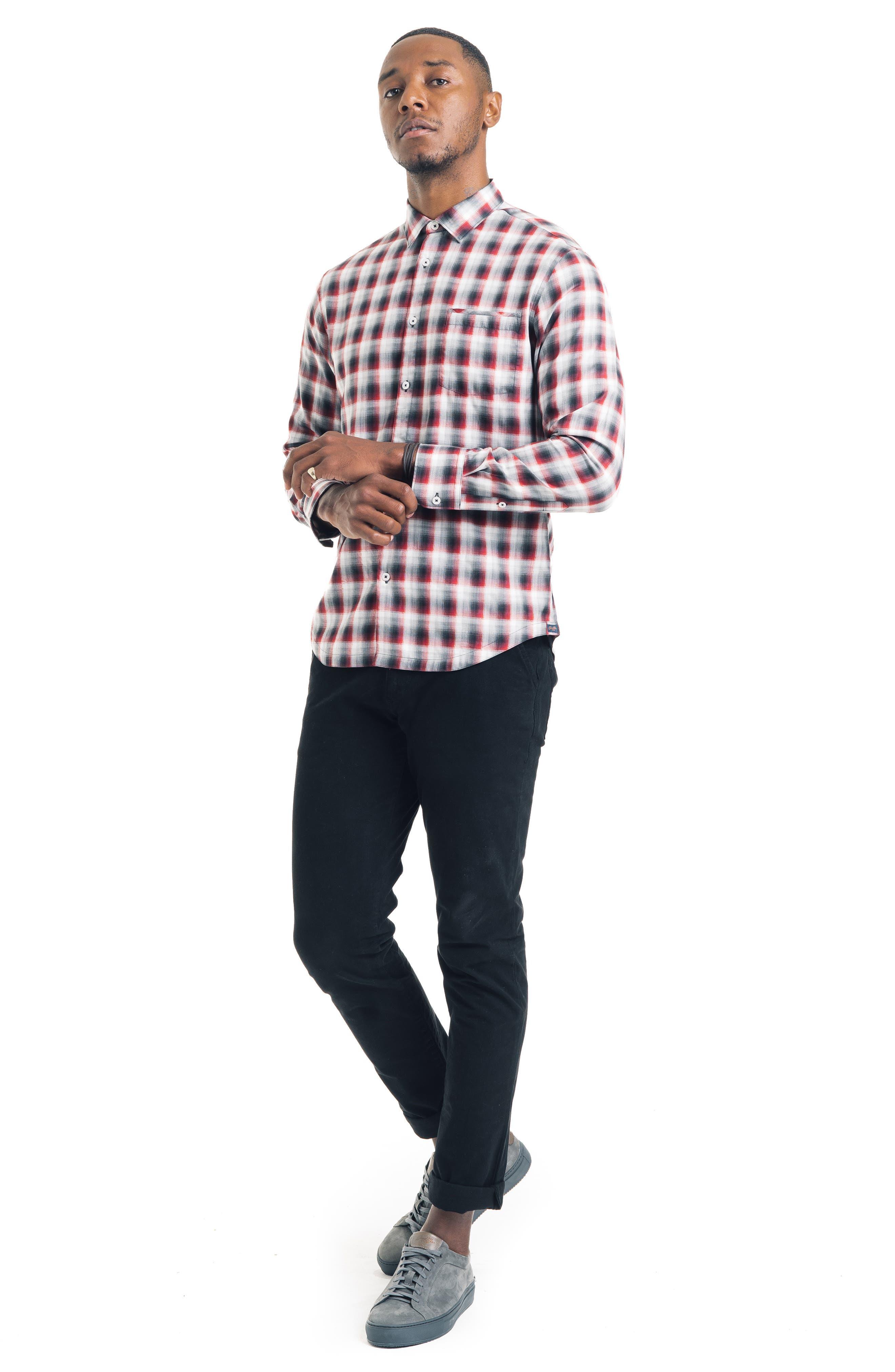 Slim Fit Ombré Plaid Sport Shirt,                             Alternate thumbnail 4, color,                             FIRE