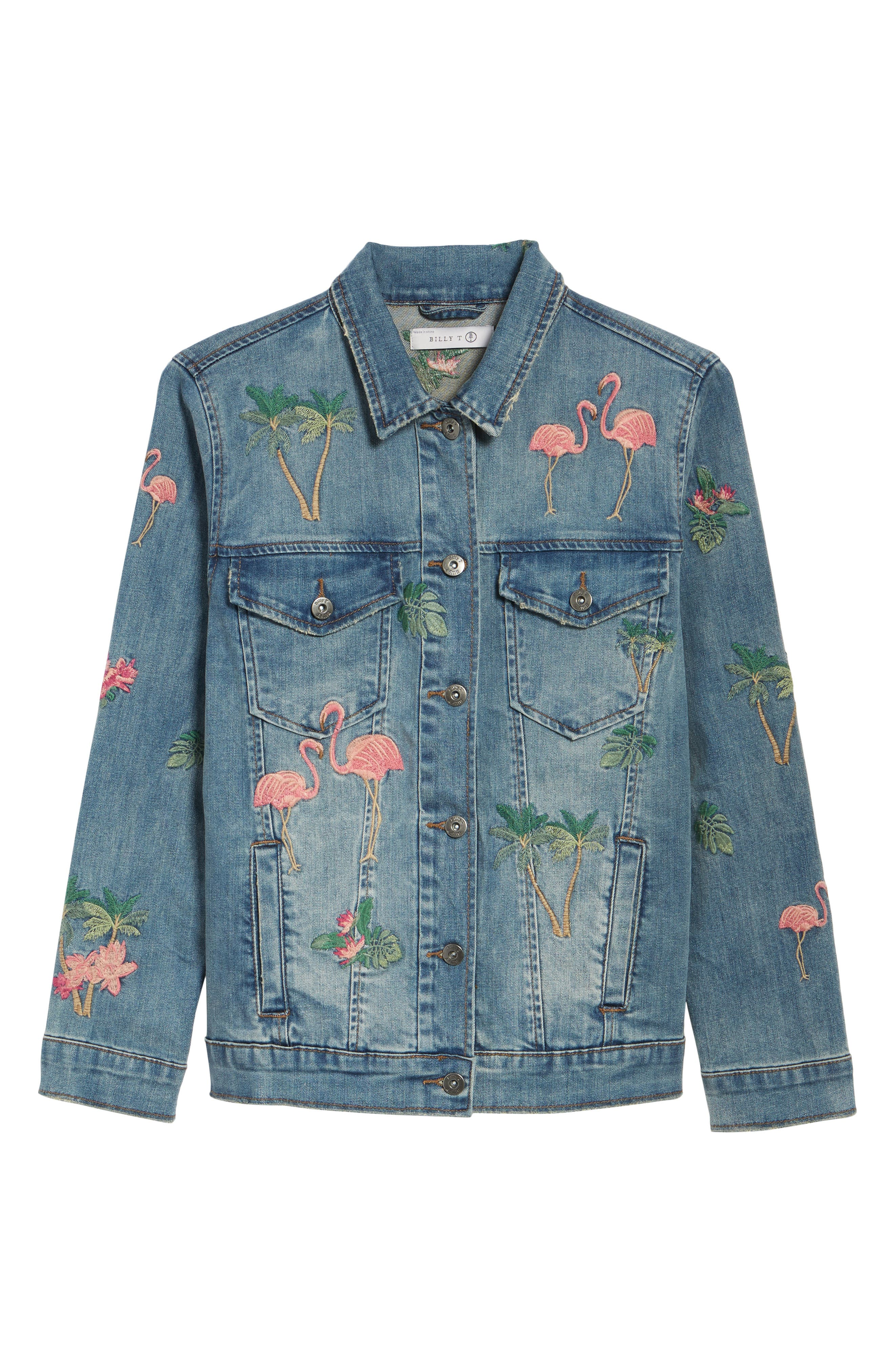 Flamingo Embroidered Denim Jacket,                             Alternate thumbnail 6, color,                             421