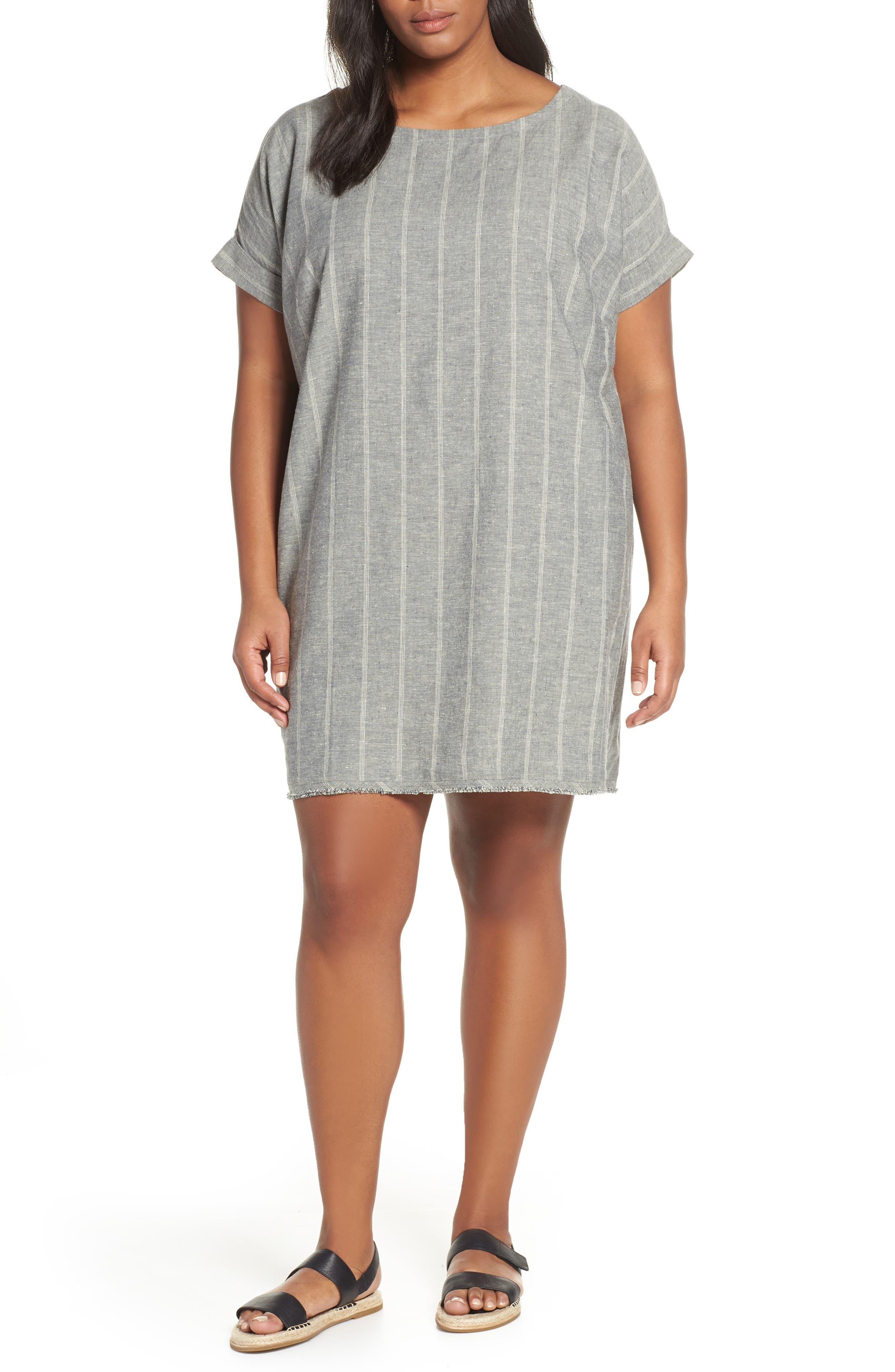 EILEEN FISHER,                             Stripe Hemp & Organic Cotton Shift Dress,                             Main thumbnail 1, color,                             MOON