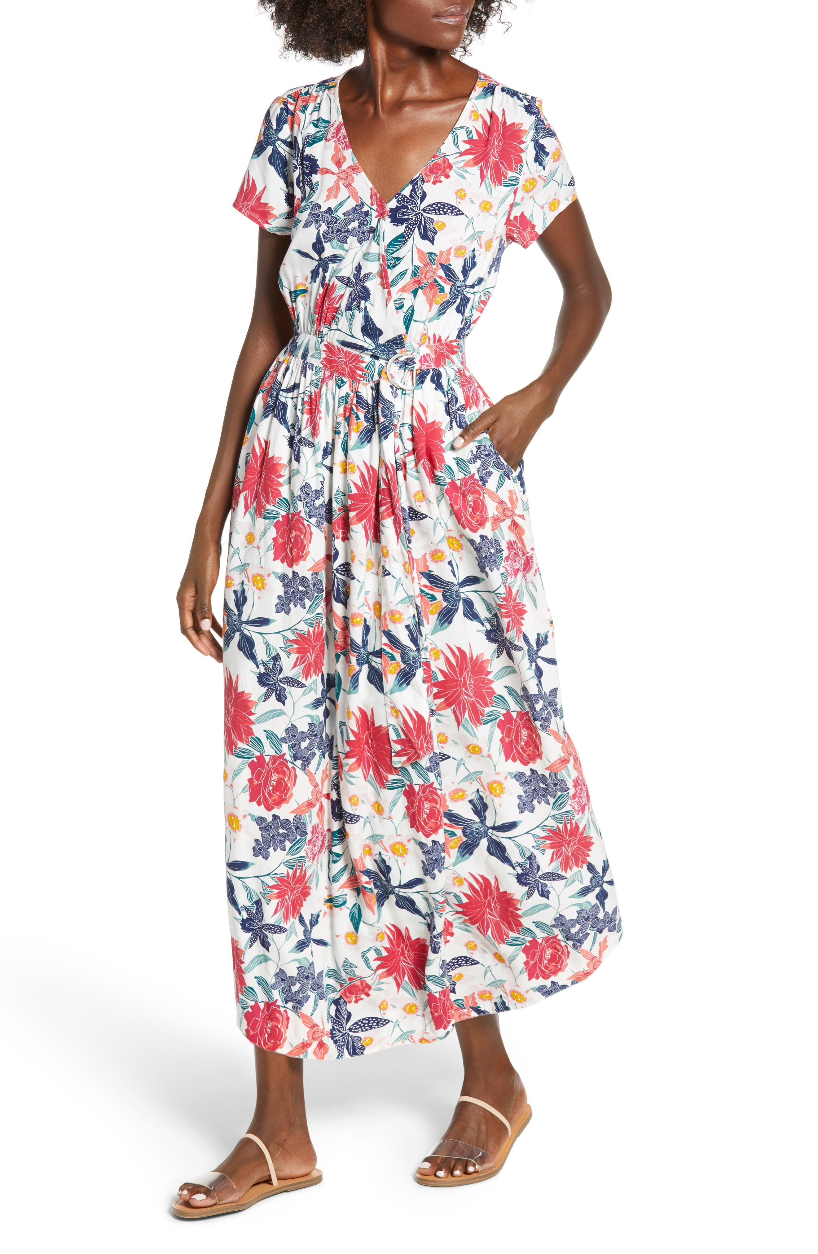 District Nights Floral Print Dress,                         Main,                         color, MARSHMALLOW TALLOWS