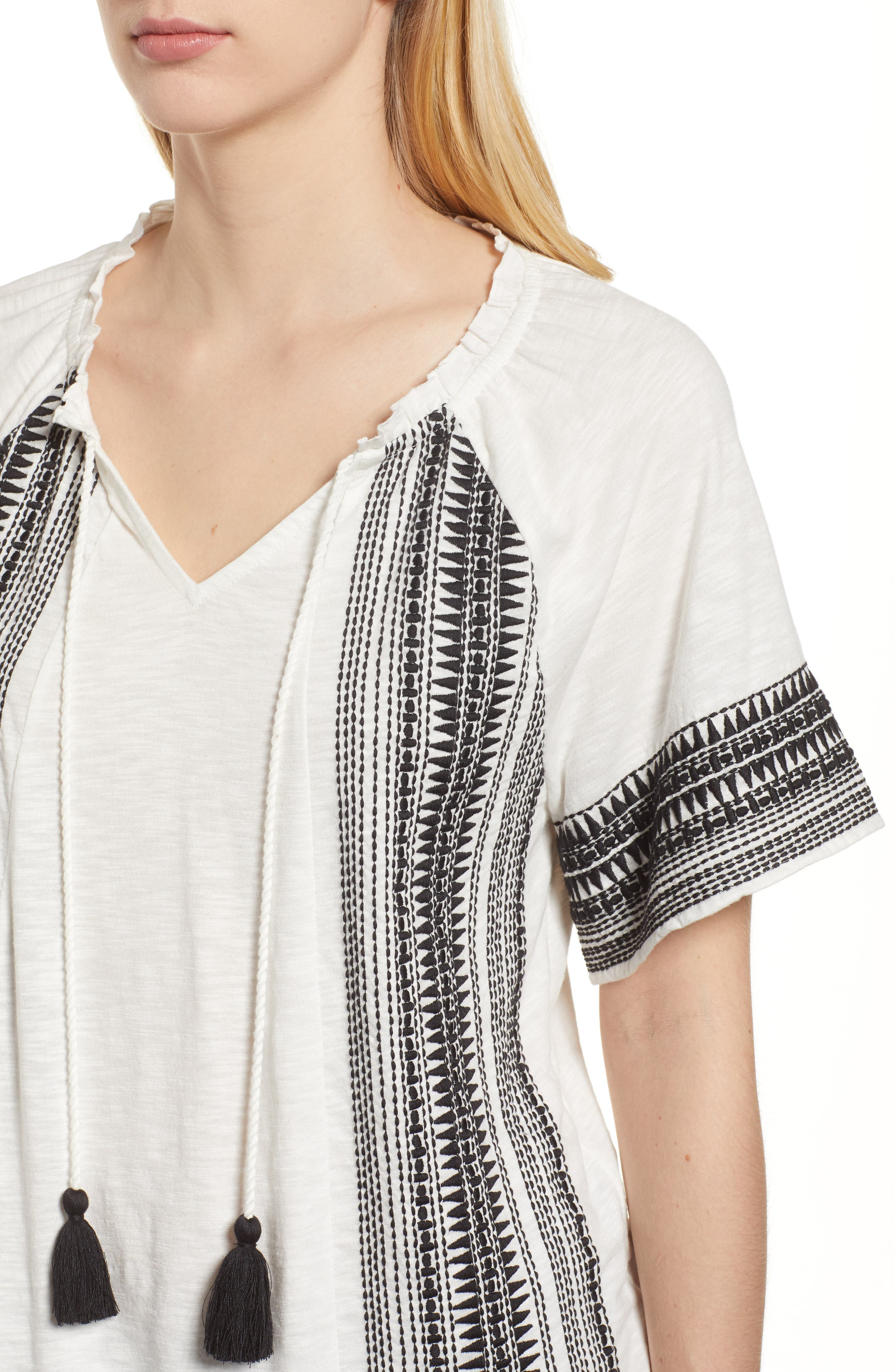Embroidered Border Peasant Top,                             Alternate thumbnail 12, color,