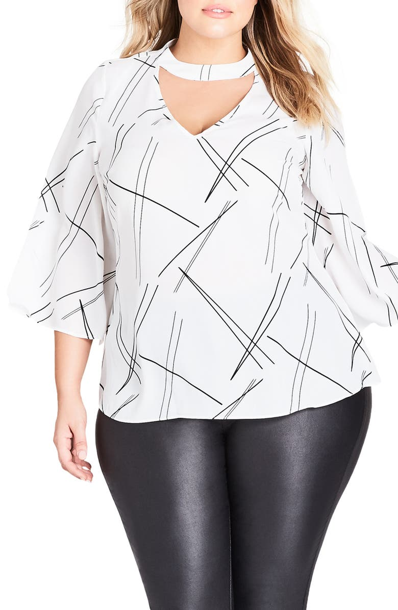 City Chic RANDOM LINES TOP