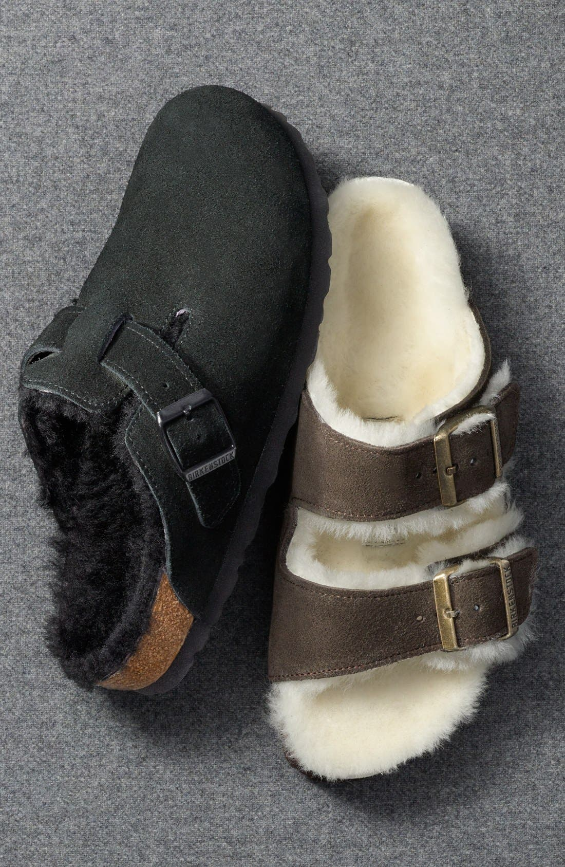 'Boston' Genuine Shearling Lined Clog,                             Alternate thumbnail 7, color,                             FOREST/ NATURAL SUEDE