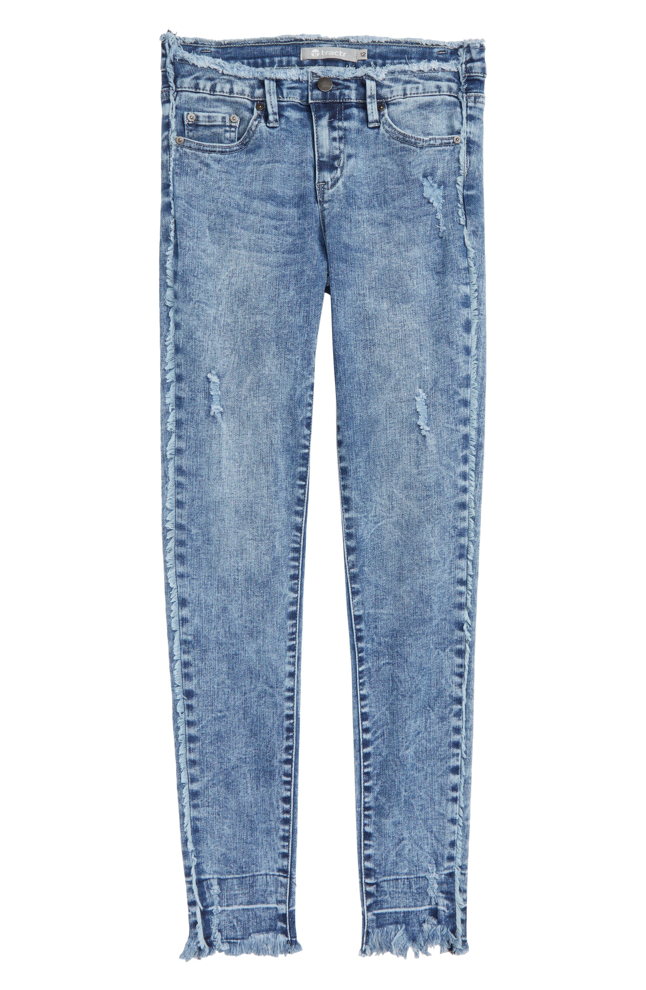 High Waist Frayed Skinny Jeans,                             Main thumbnail 1, color,                             407