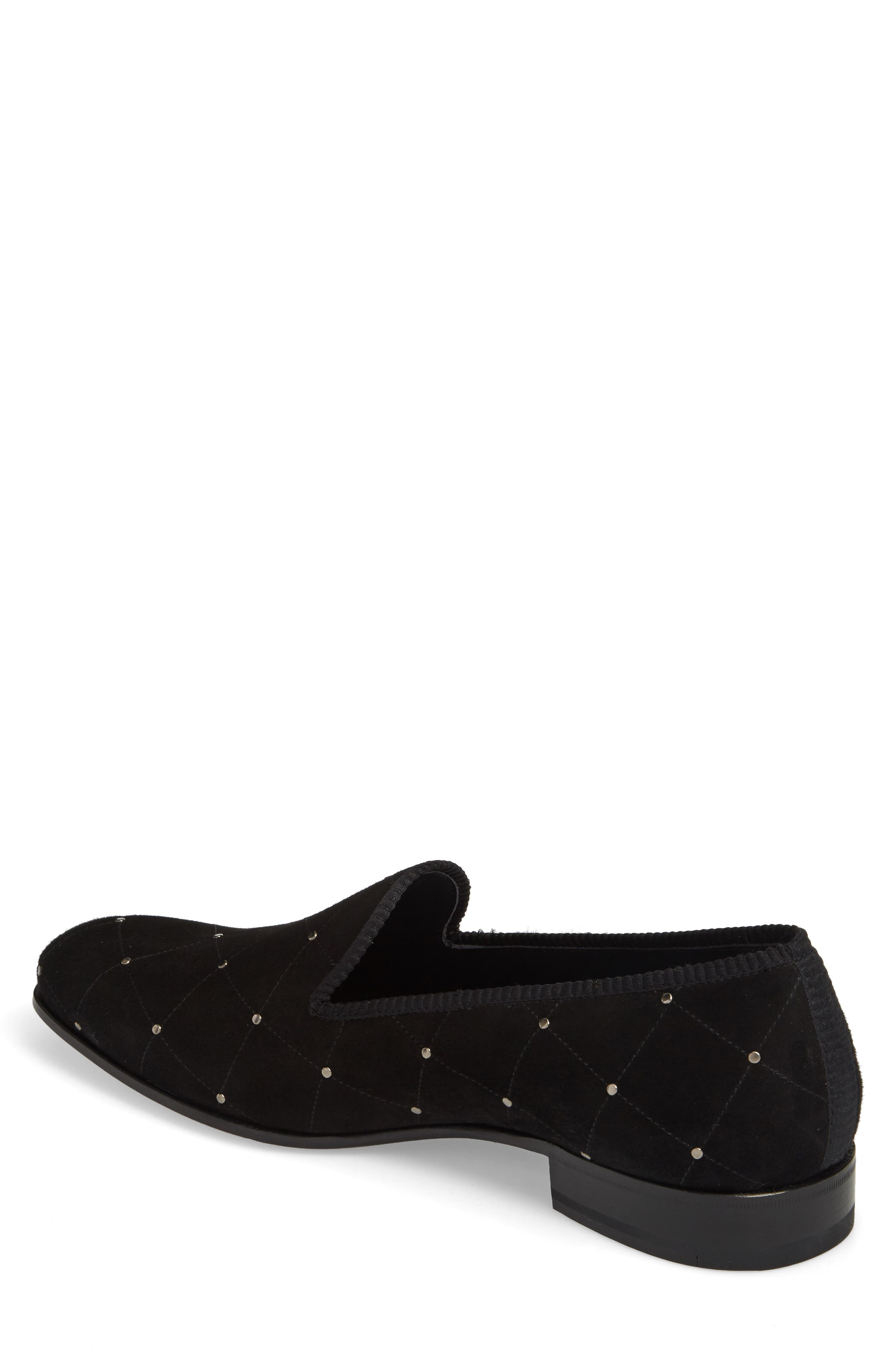 Talo Studded Venetian Loafer,                             Alternate thumbnail 2, color,                             BLACK SUEDE