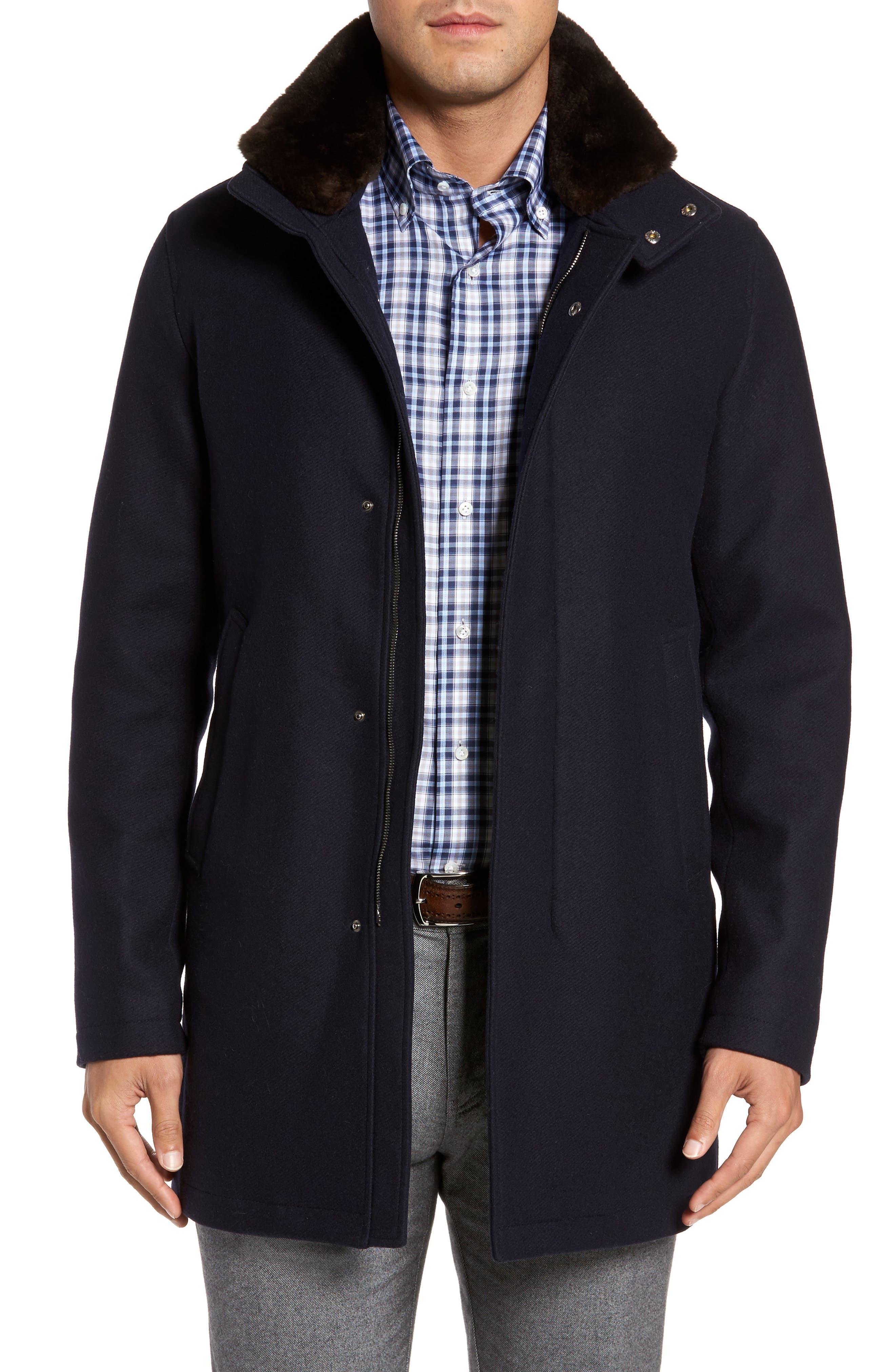 Genuine Beaver Fur Collar Wool Blend Coat,                             Main thumbnail 1, color,                             400