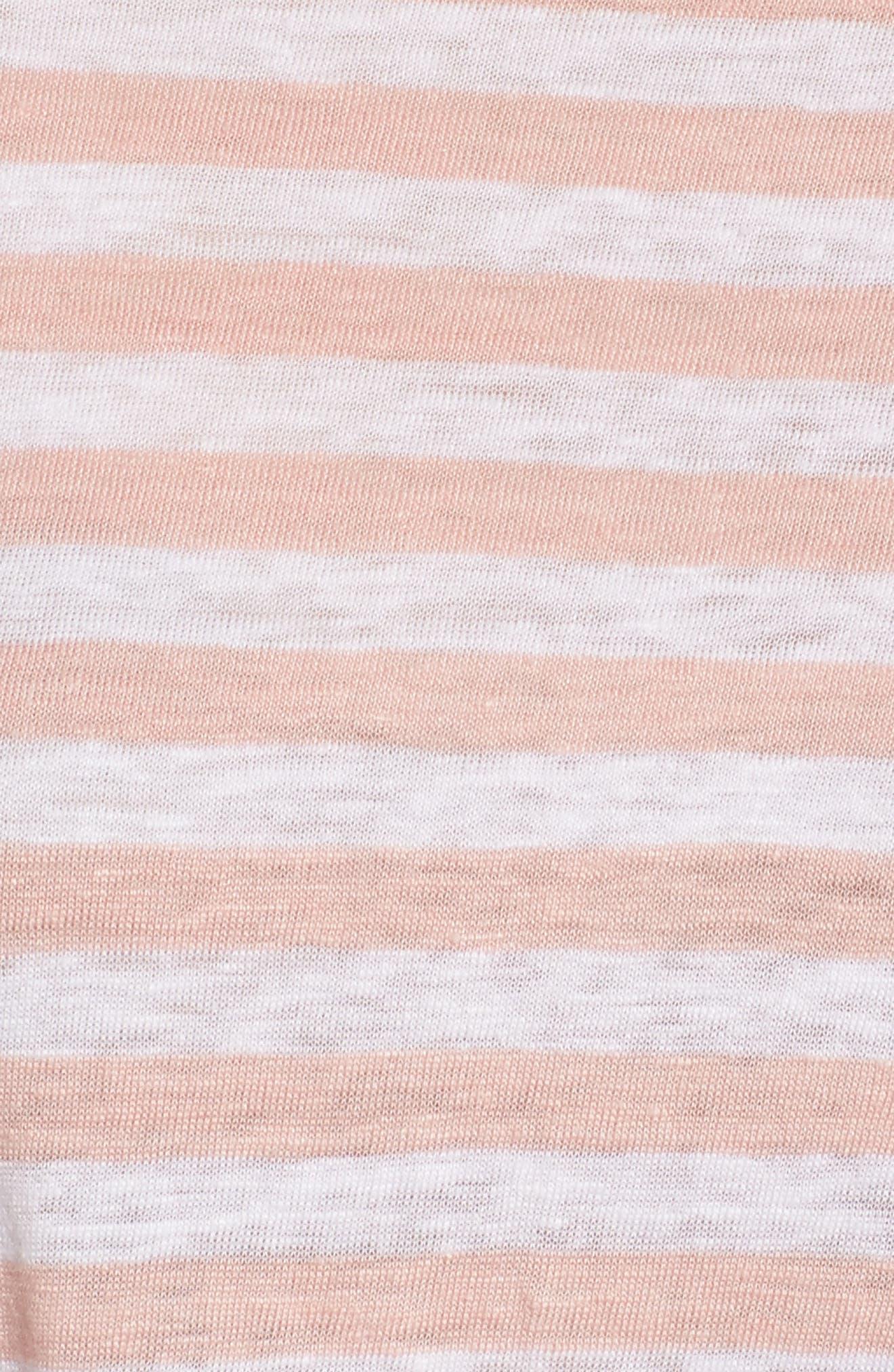 Billie Stripe Pocket Tee,                             Alternate thumbnail 5, color,                             BLUSH TRICOLOR