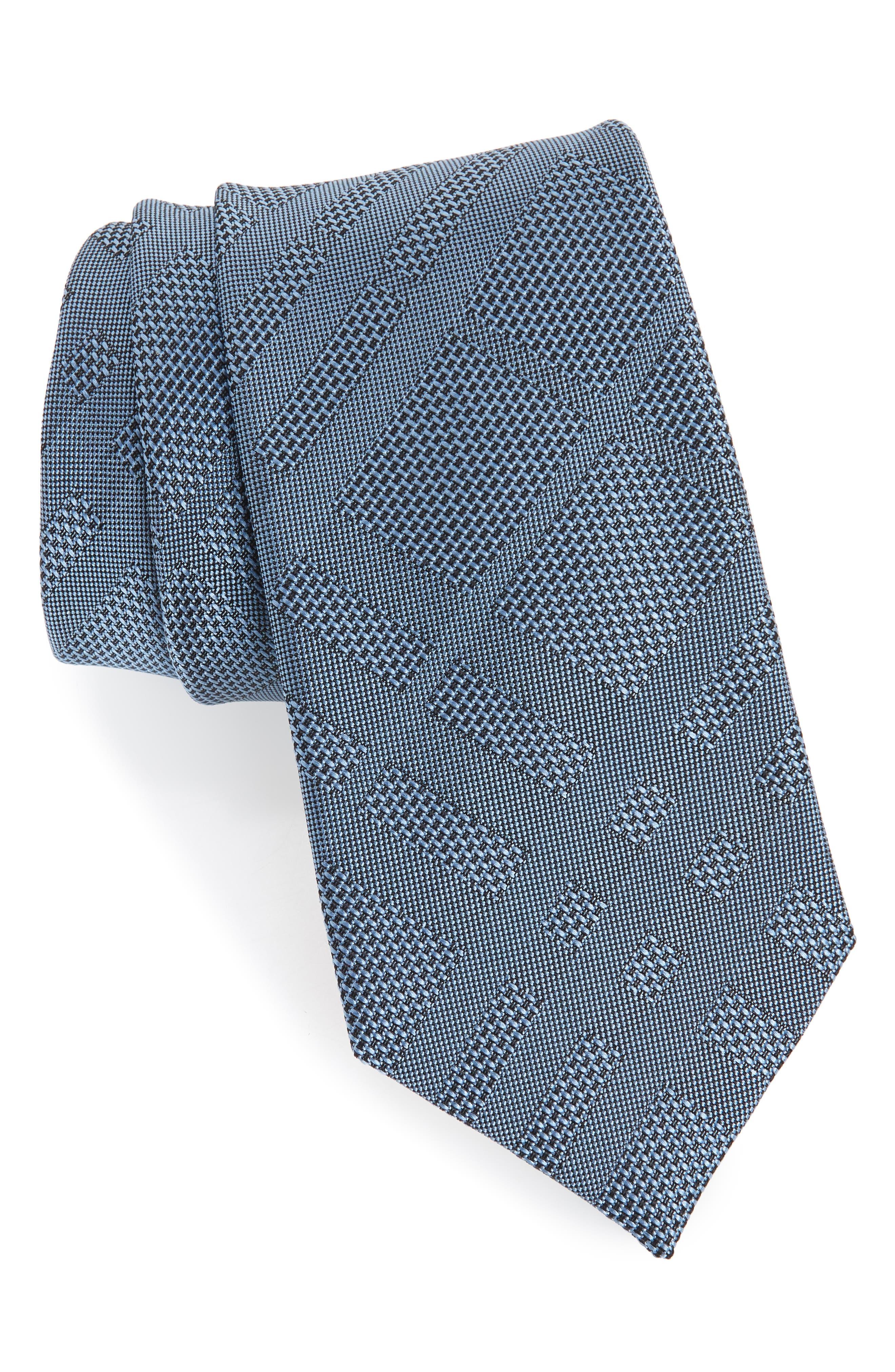 Manston Tonal Check Silk Skinny Tie,                         Main,                         color, SKY BLUE