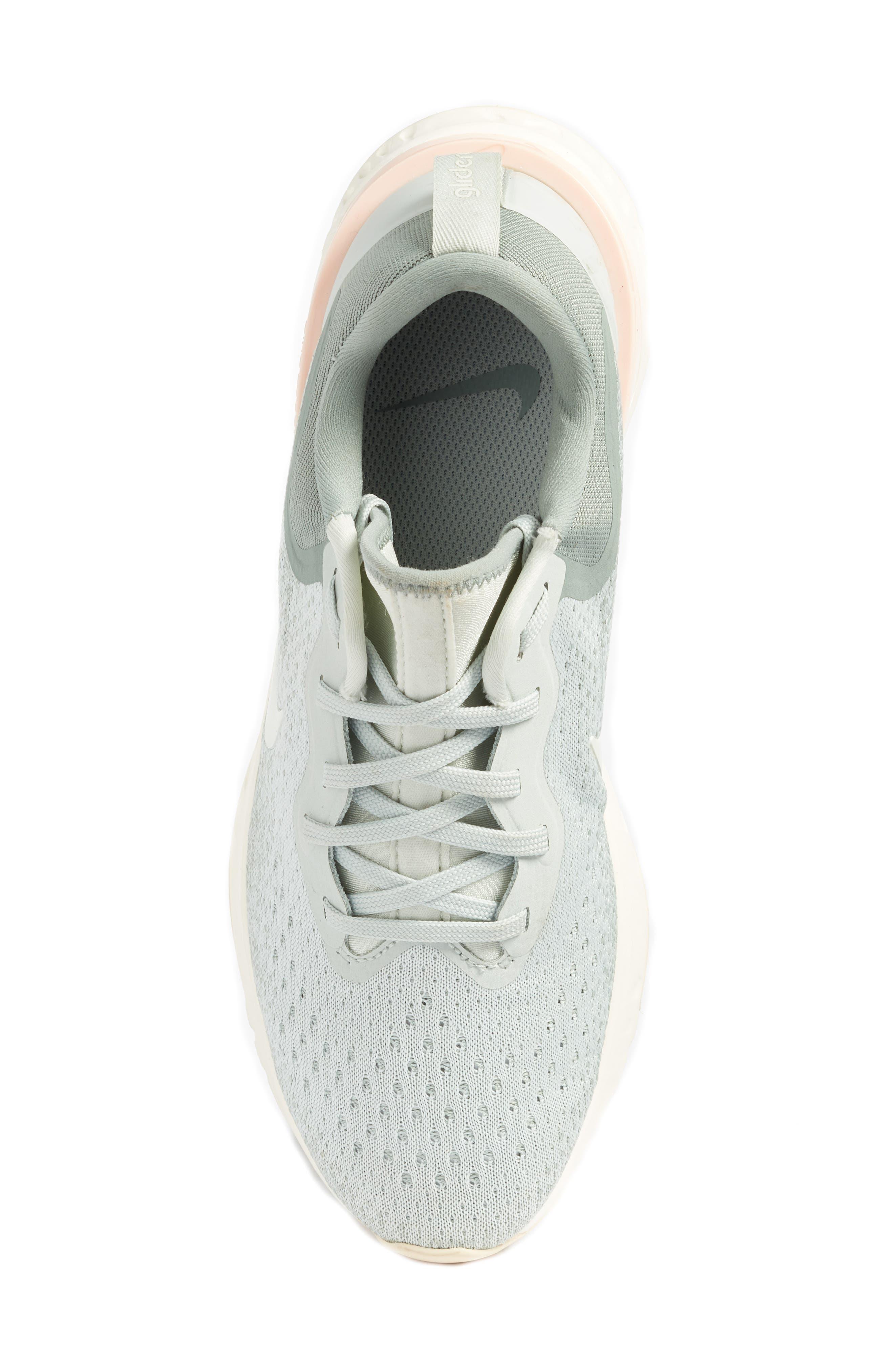 Odyssey React Running Shoe,                             Alternate thumbnail 5, color,                             LIGHT SILVER/ SAIL/ MICA GREEN