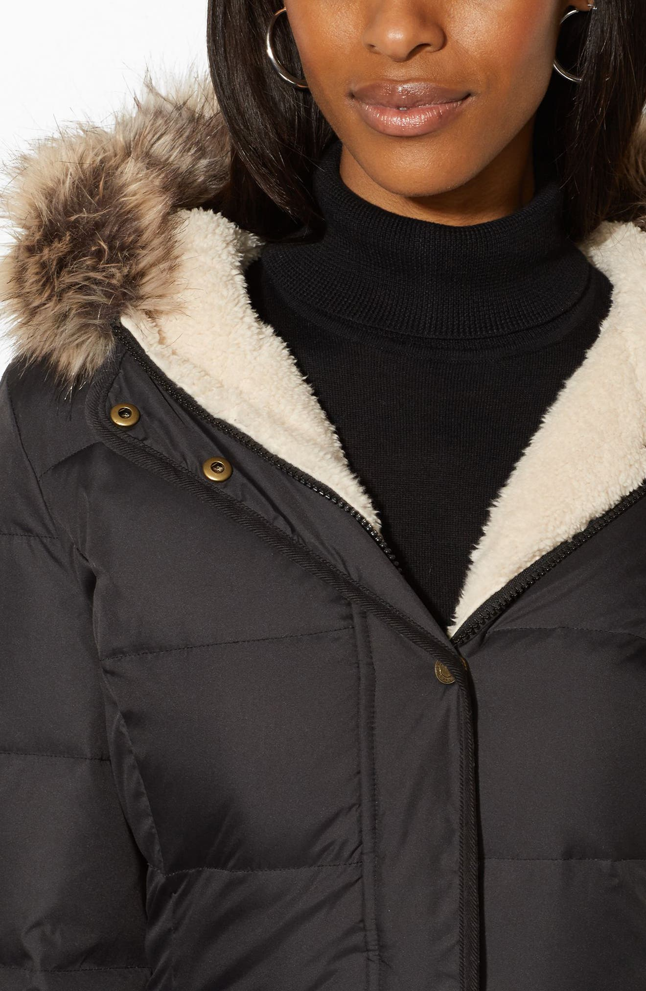 Quilted Down & Feather Jacket with Faux Fur Trim,                             Alternate thumbnail 4, color,                             001