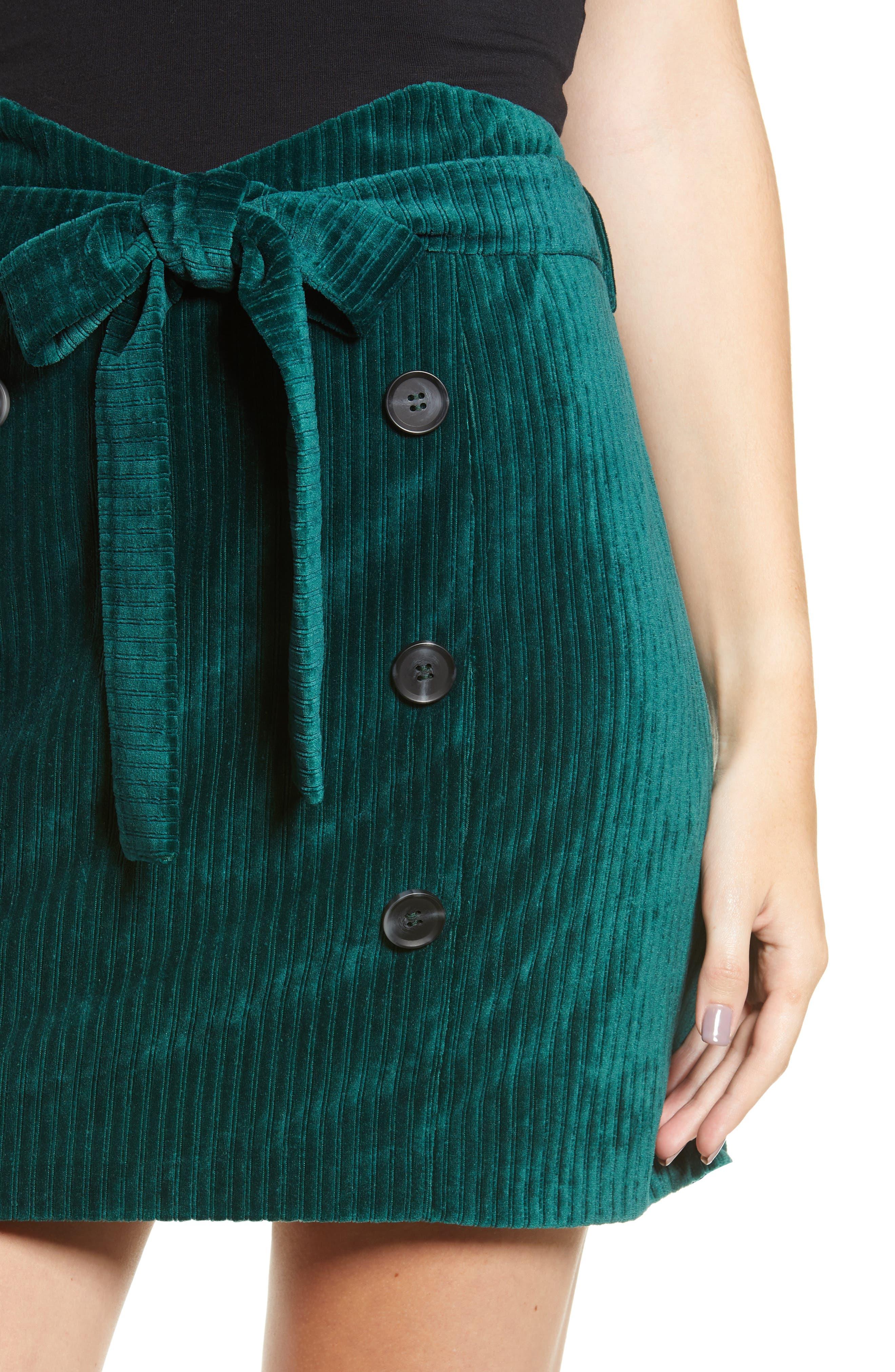 Velour Tie Waist Skirt,                             Alternate thumbnail 4, color,                             PINE