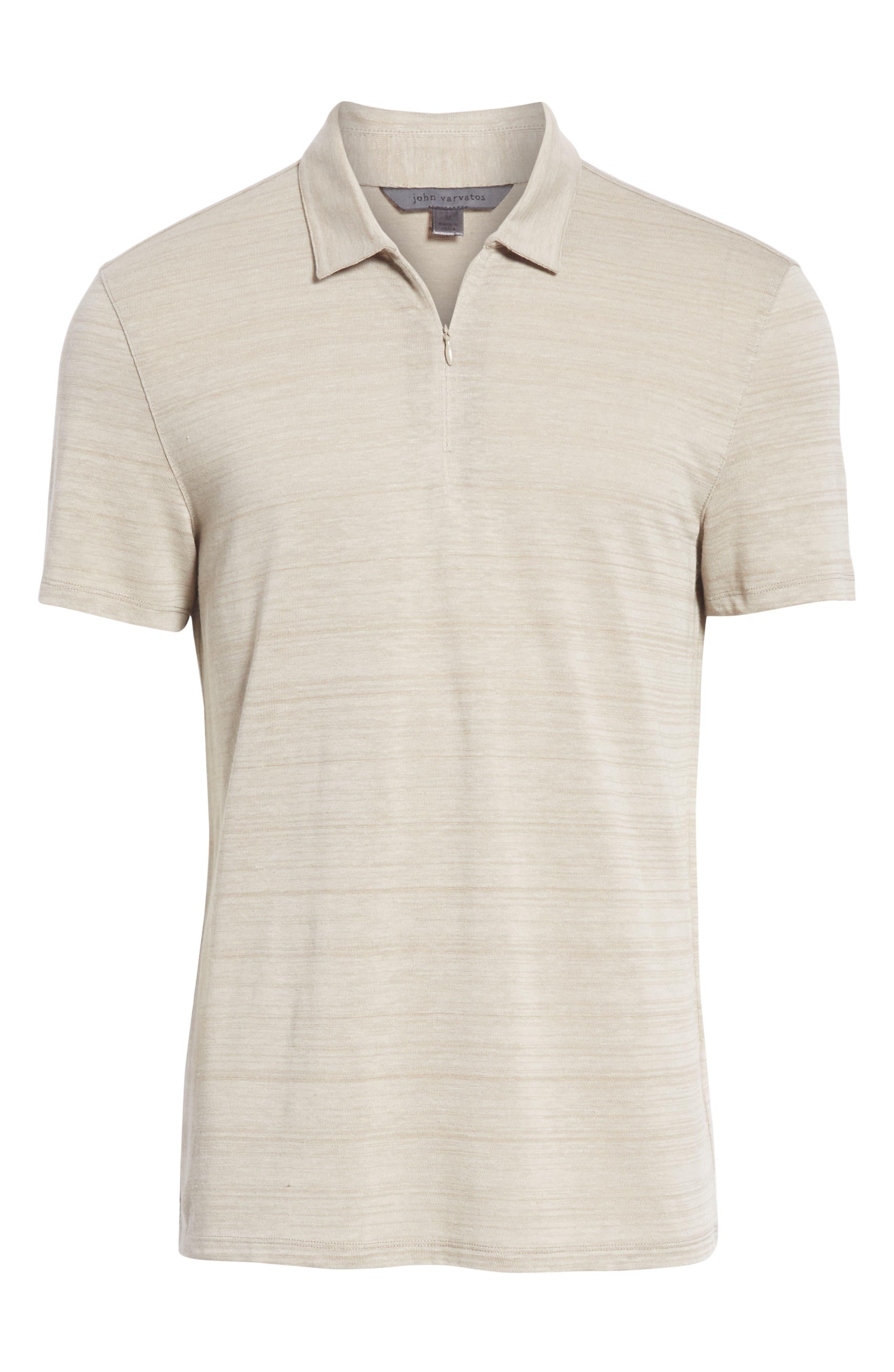 Stripe Zip Polo Shirt,                             Alternate thumbnail 6, color,                             WHEAT