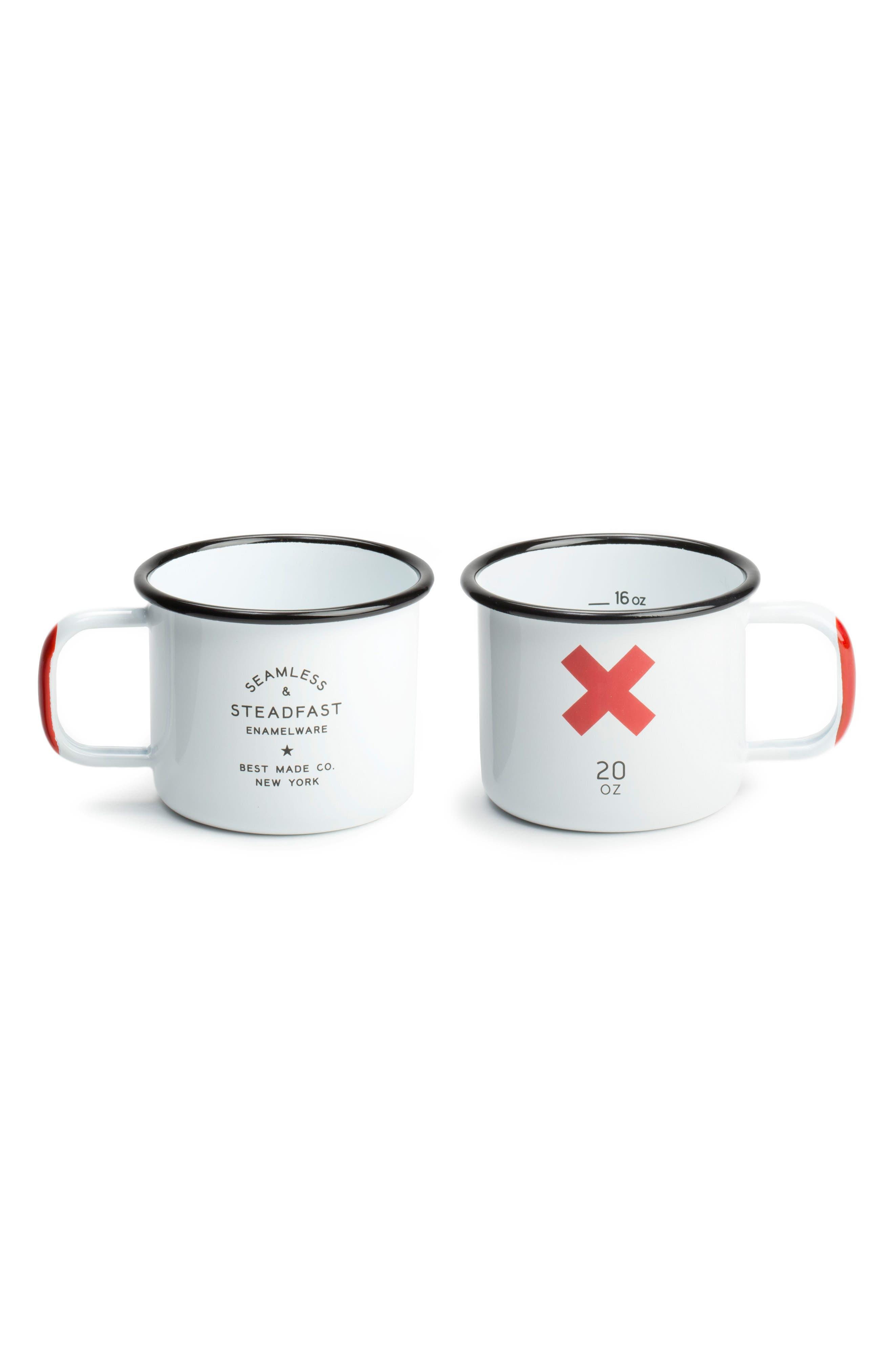BEST MADE CO.,                             Set of 2 Enameled Steel Mugs,                             Alternate thumbnail 2, color,                             WHITE