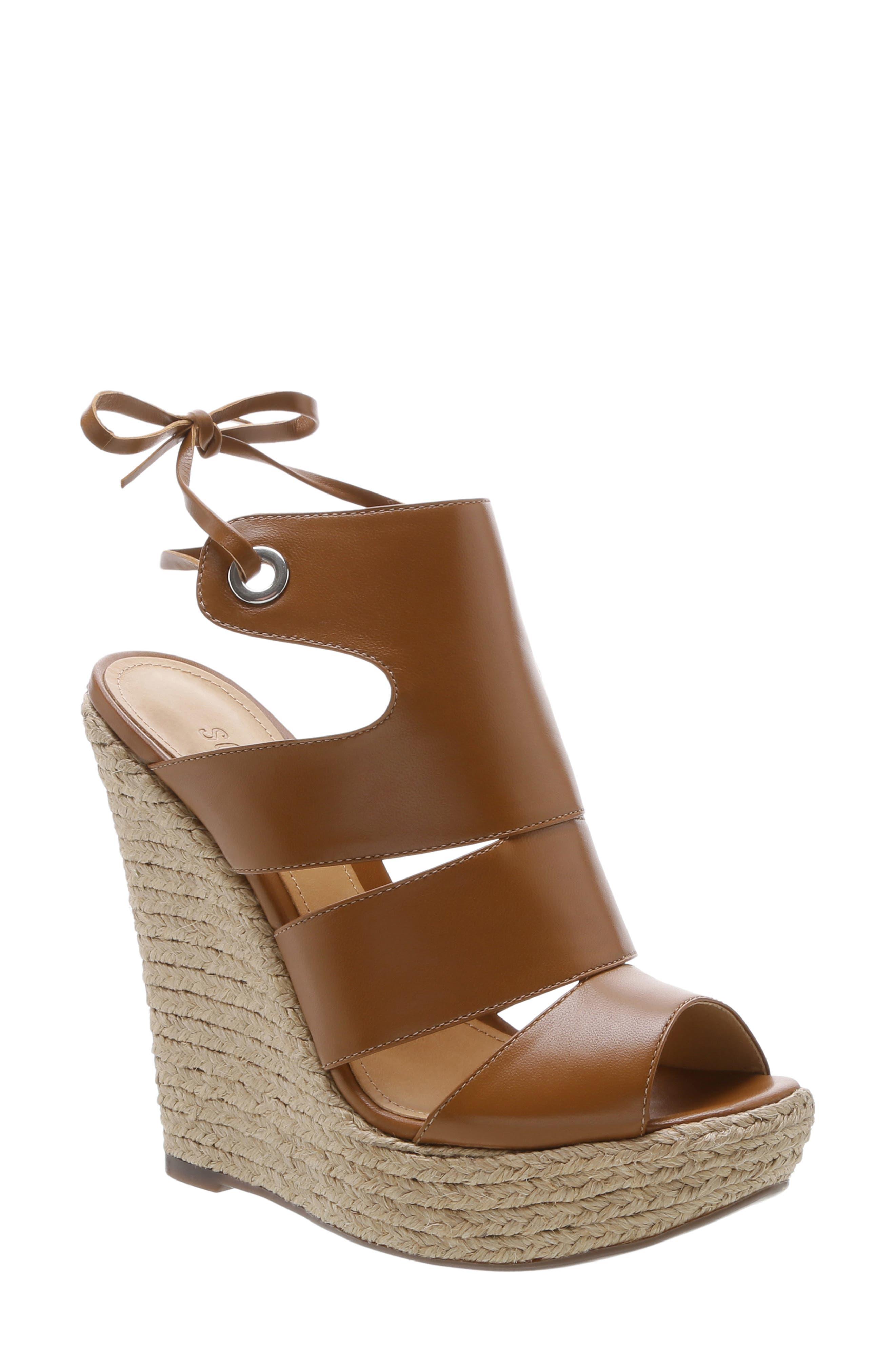 Ilione Platform Wedge Sandal, Main, color, WOOD LEATHER