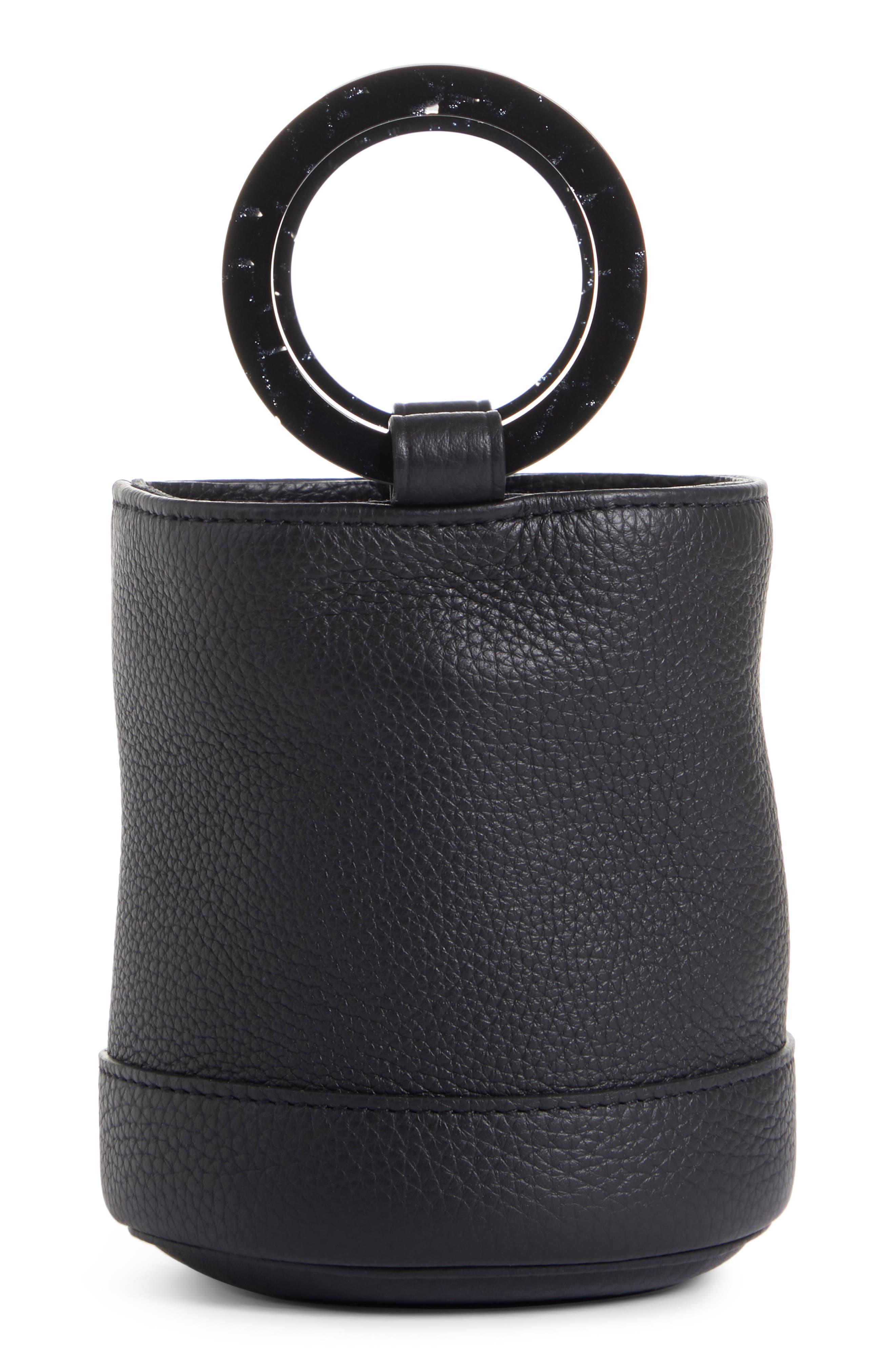 Bonsai 15 Calfskin Leather Bucket Bag,                             Main thumbnail 1, color,                             ALL BLACK