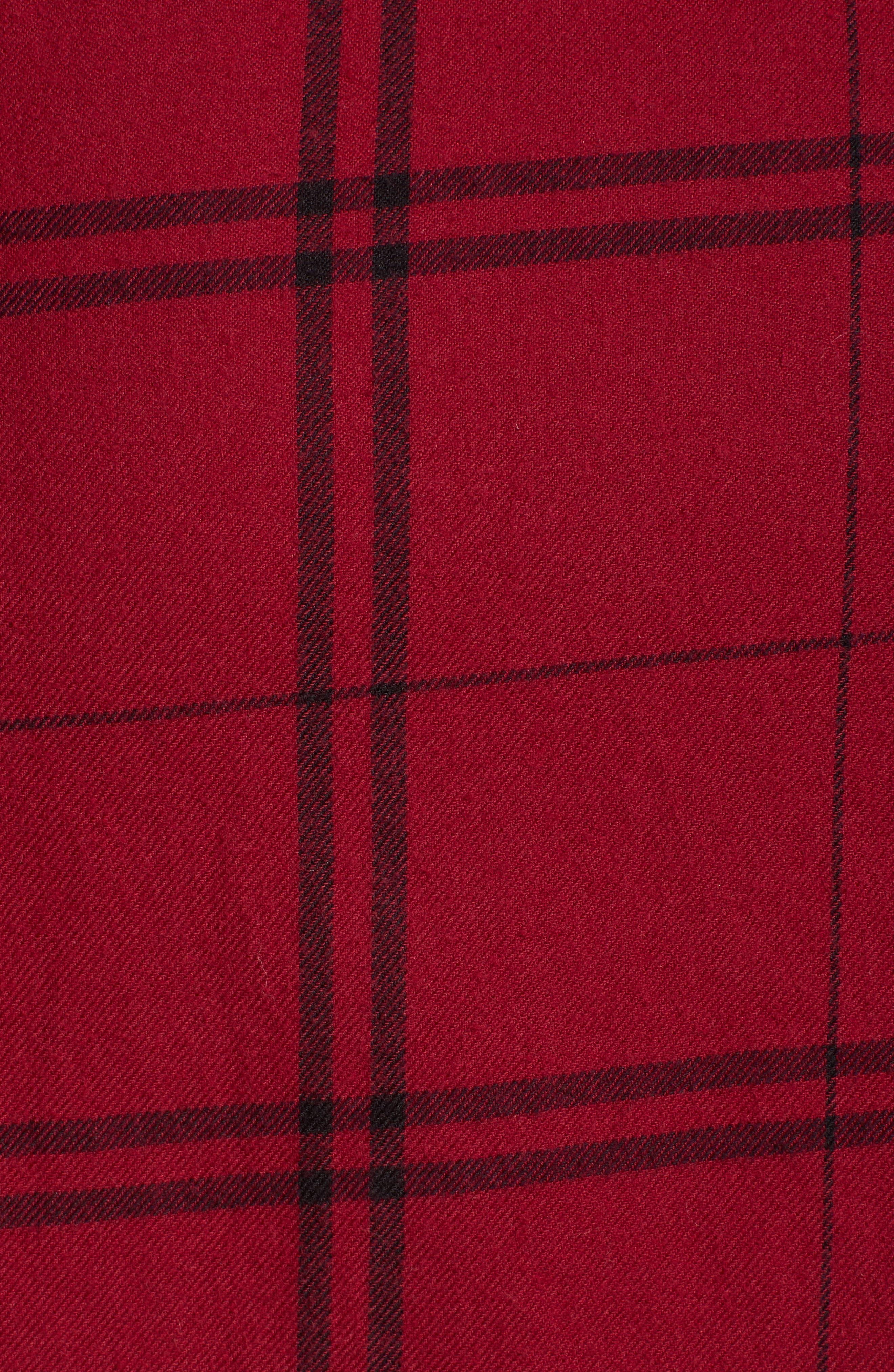 Plaid Shirt Dress,                             Alternate thumbnail 6, color,                             RED RUMBA SUNNY PLAID