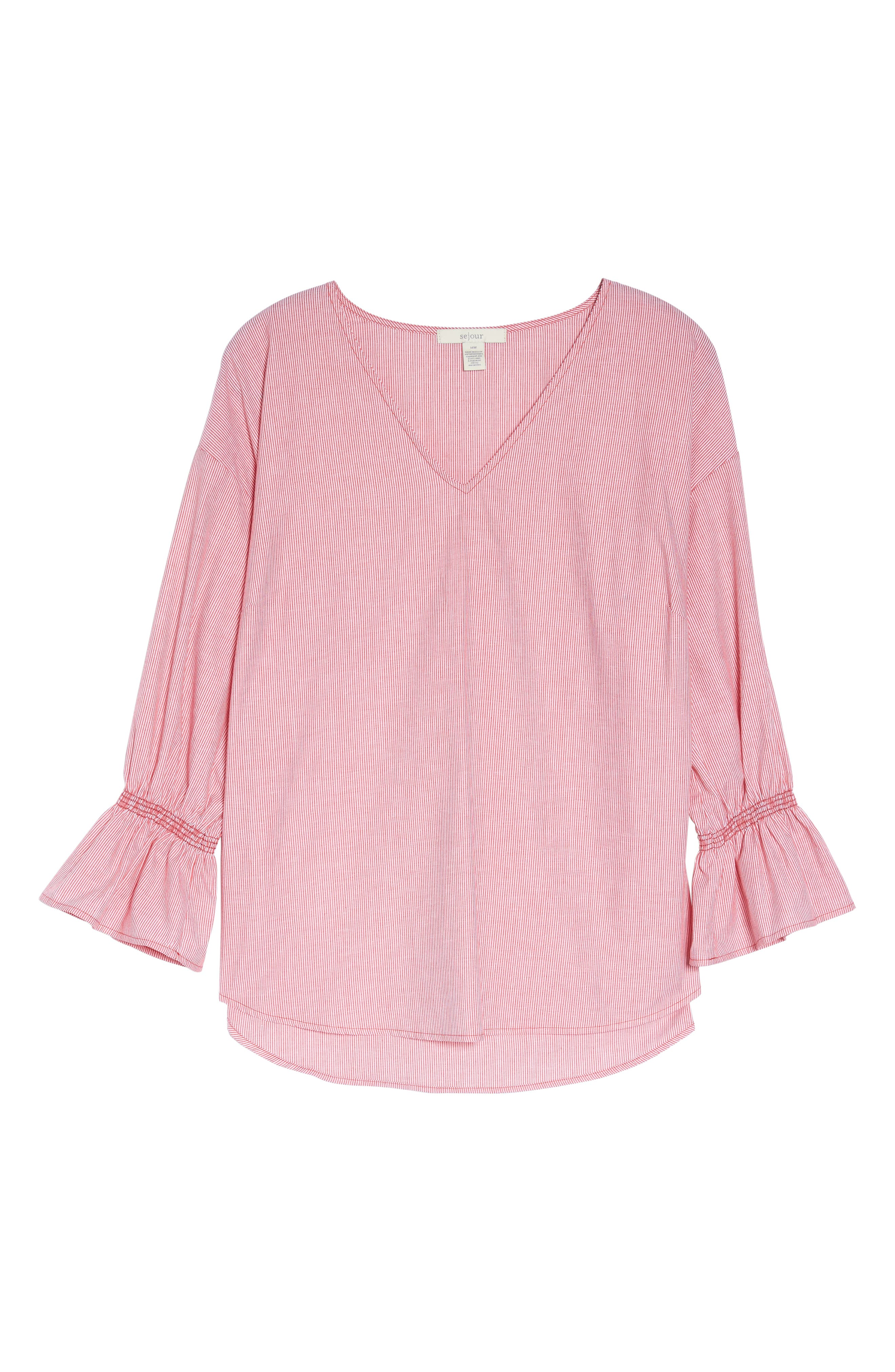 Pinstripe Bell Cuff Top,                             Alternate thumbnail 12, color,
