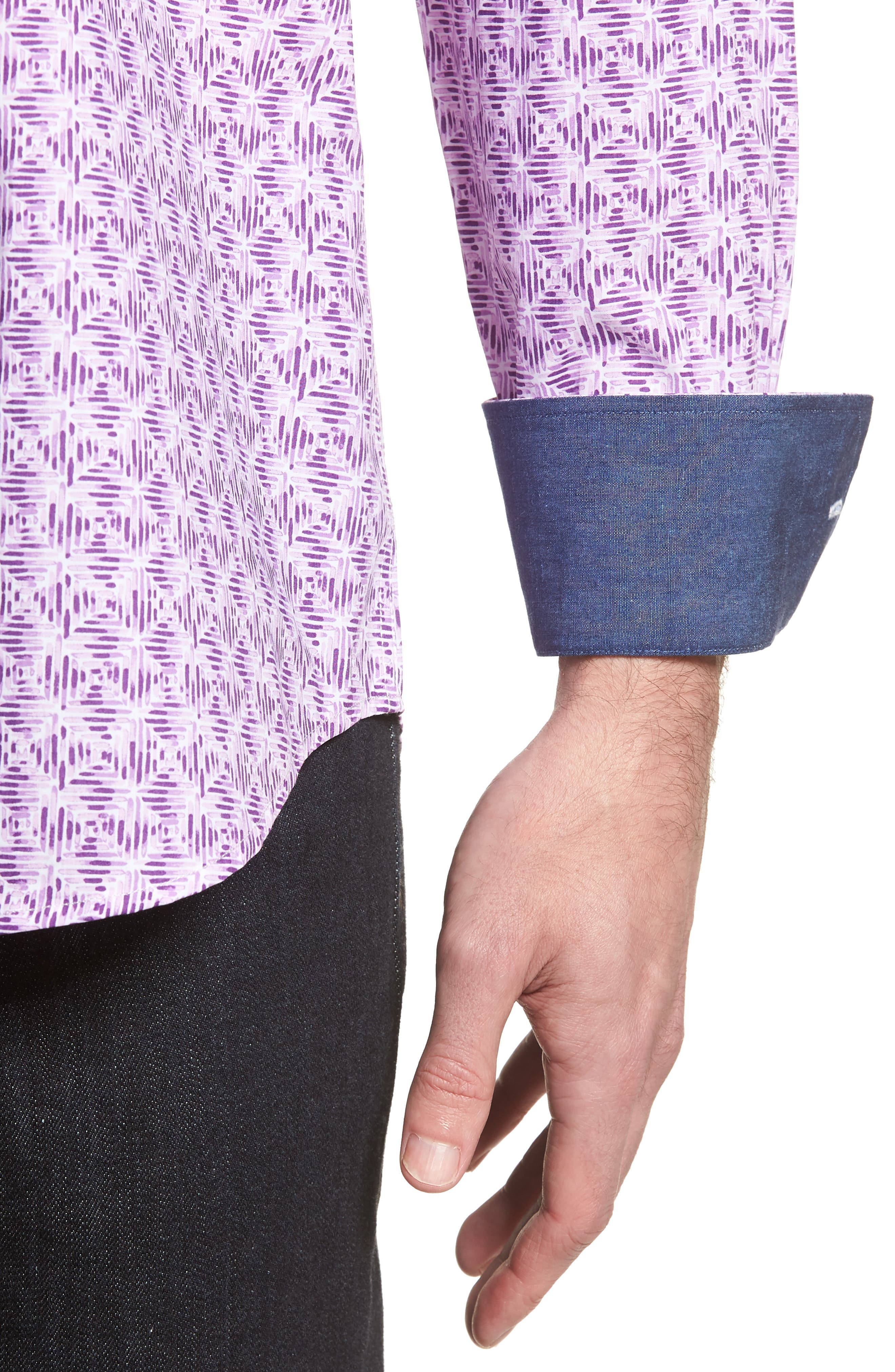 Classic Fit Woven Sport Shirt,                             Alternate thumbnail 4, color,