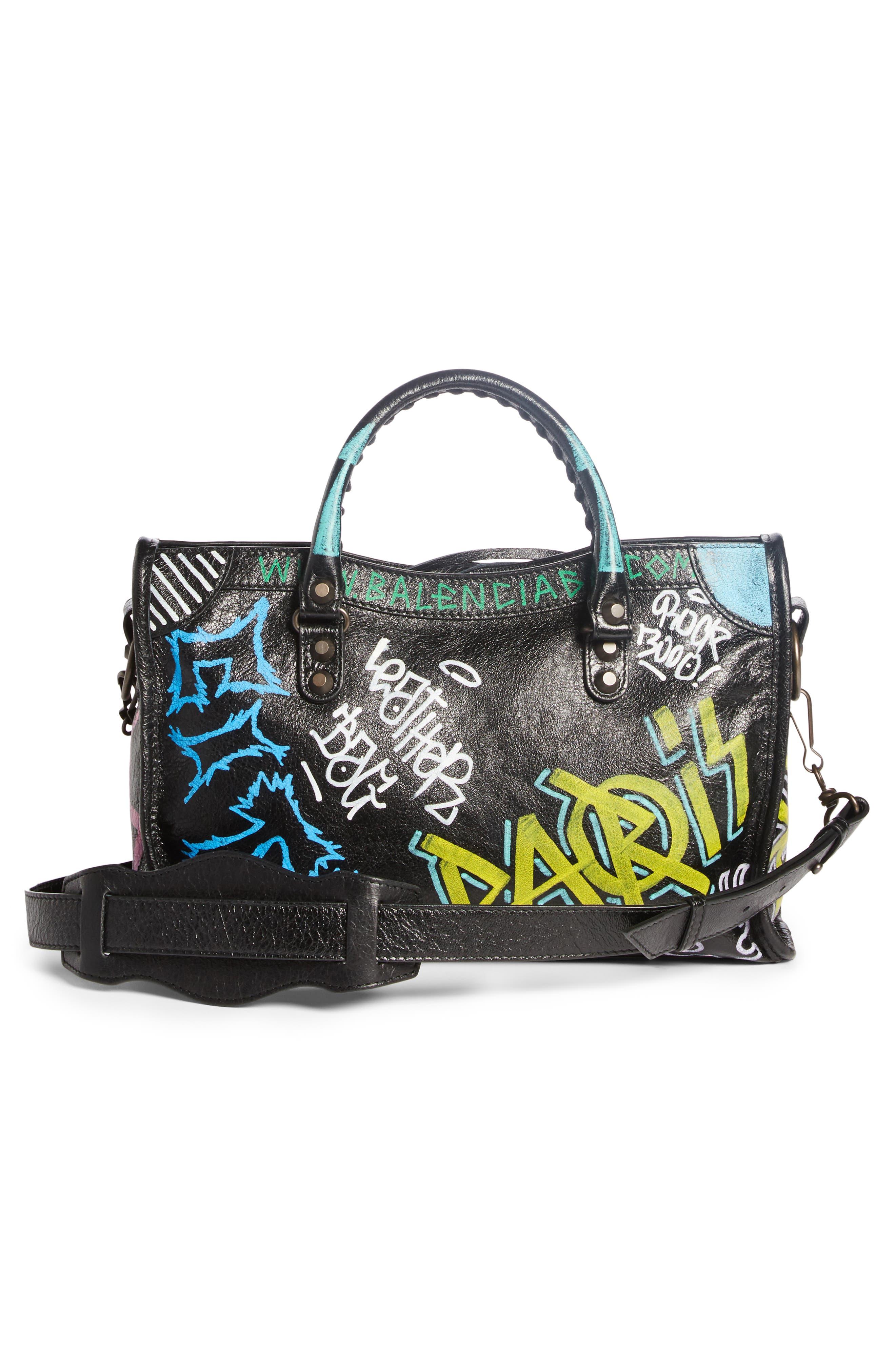 Small City Graffiti Leather Tote,                             Alternate thumbnail 3, color,                             NOIR MULTI