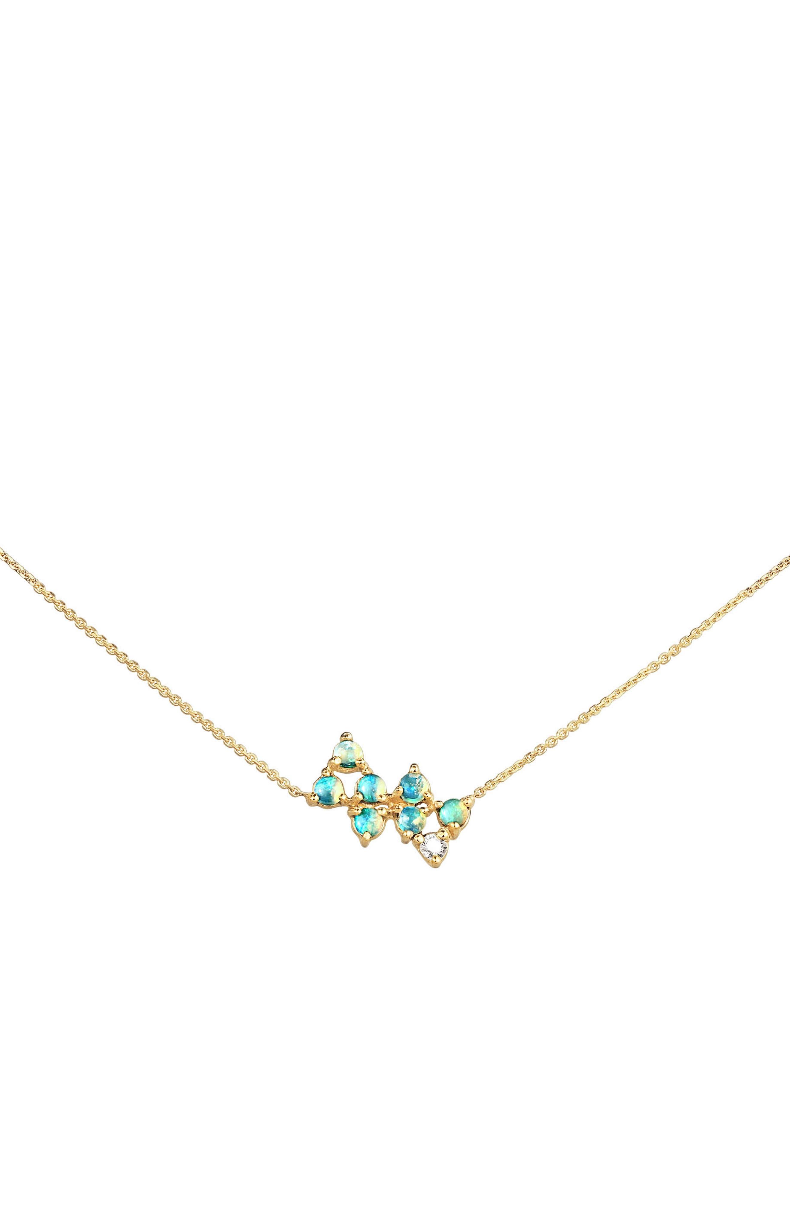 Opal & Diamond Bias Necklace,                             Main thumbnail 1, color,                             OPAL AND WHITE DIAMOND