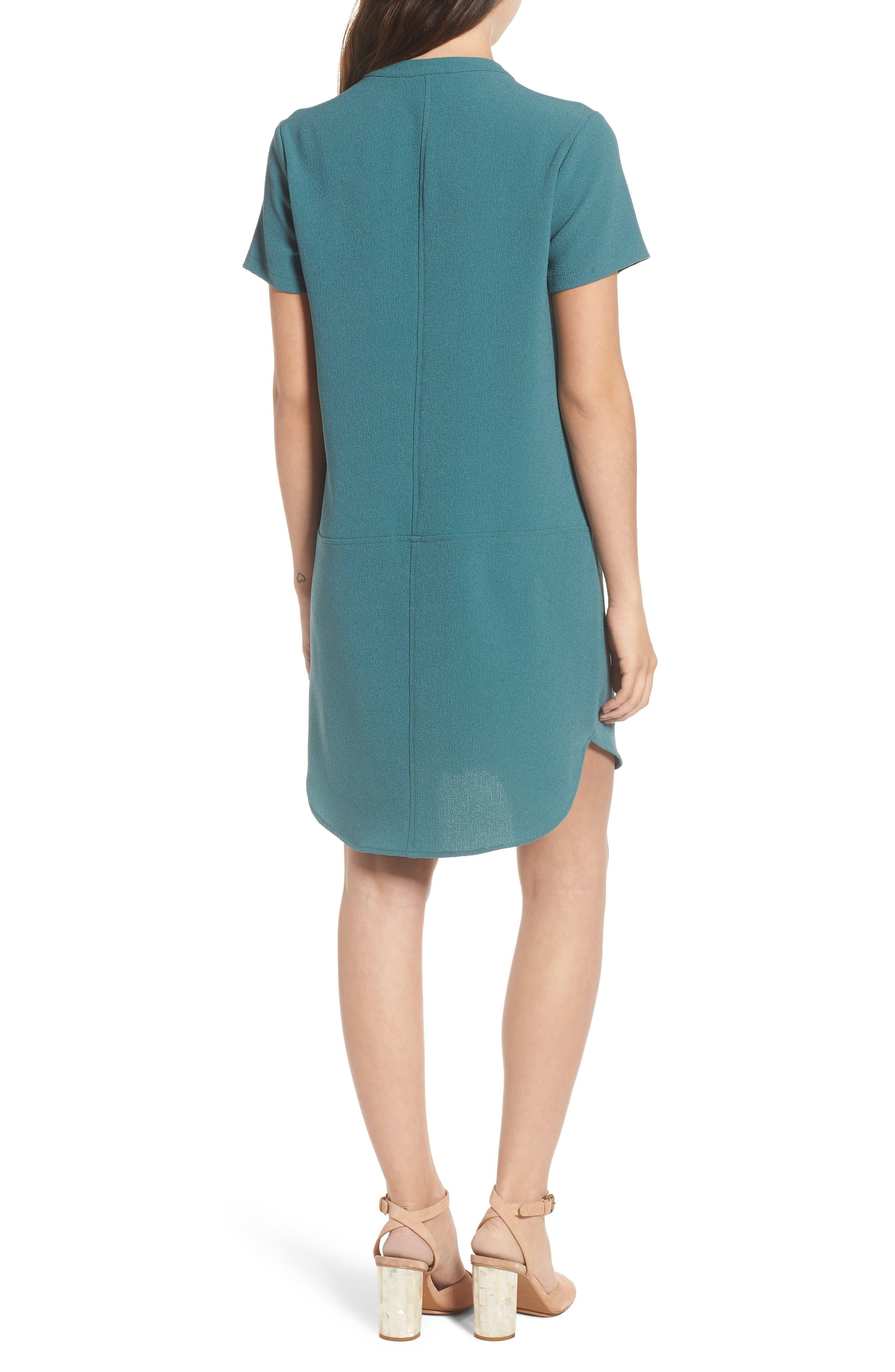 Hailey Crepe Dress,                             Alternate thumbnail 2, color,                             HYDRO TEAL