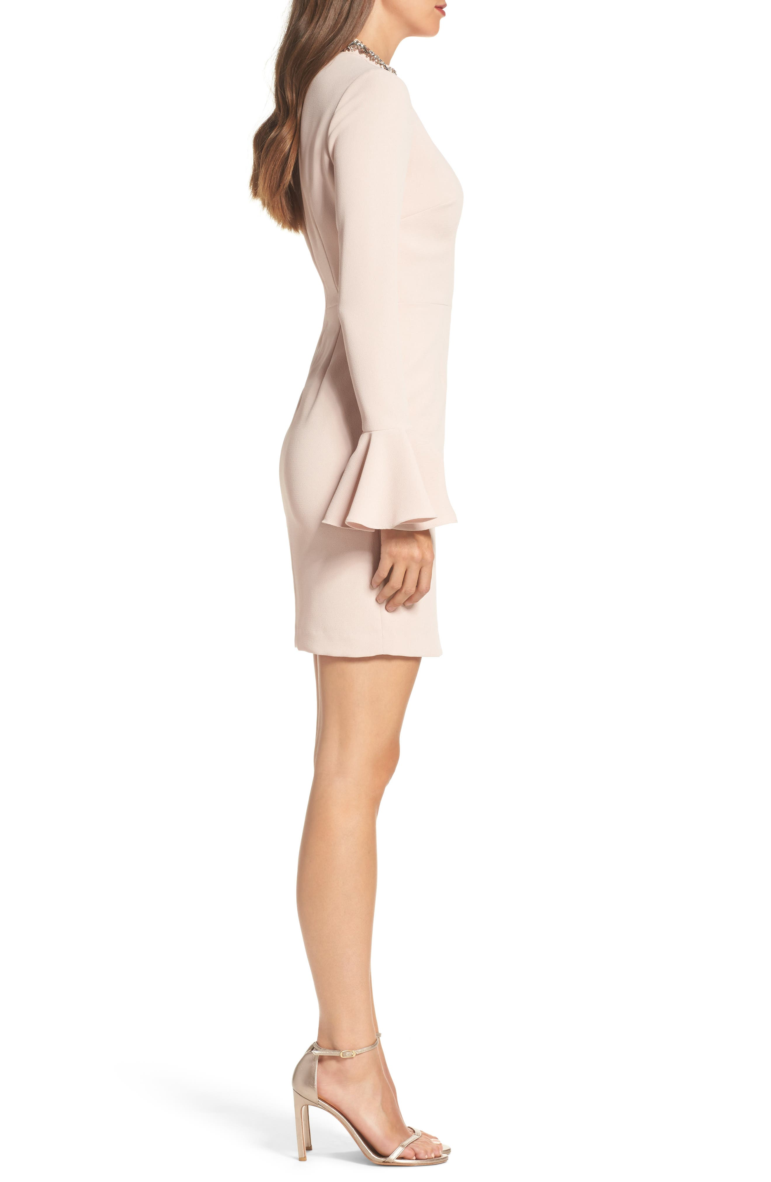 Crystal Choker Bell Sleeve Sheath Dress,                             Alternate thumbnail 6, color,