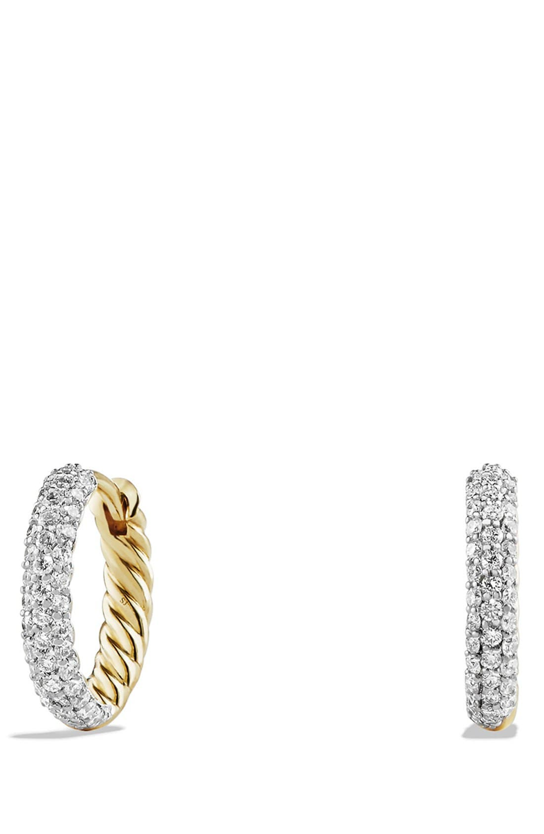 'Petite Pavé' Earrings with Diamonds in 18K Gold,                             Main thumbnail 1, color,                             GOLD