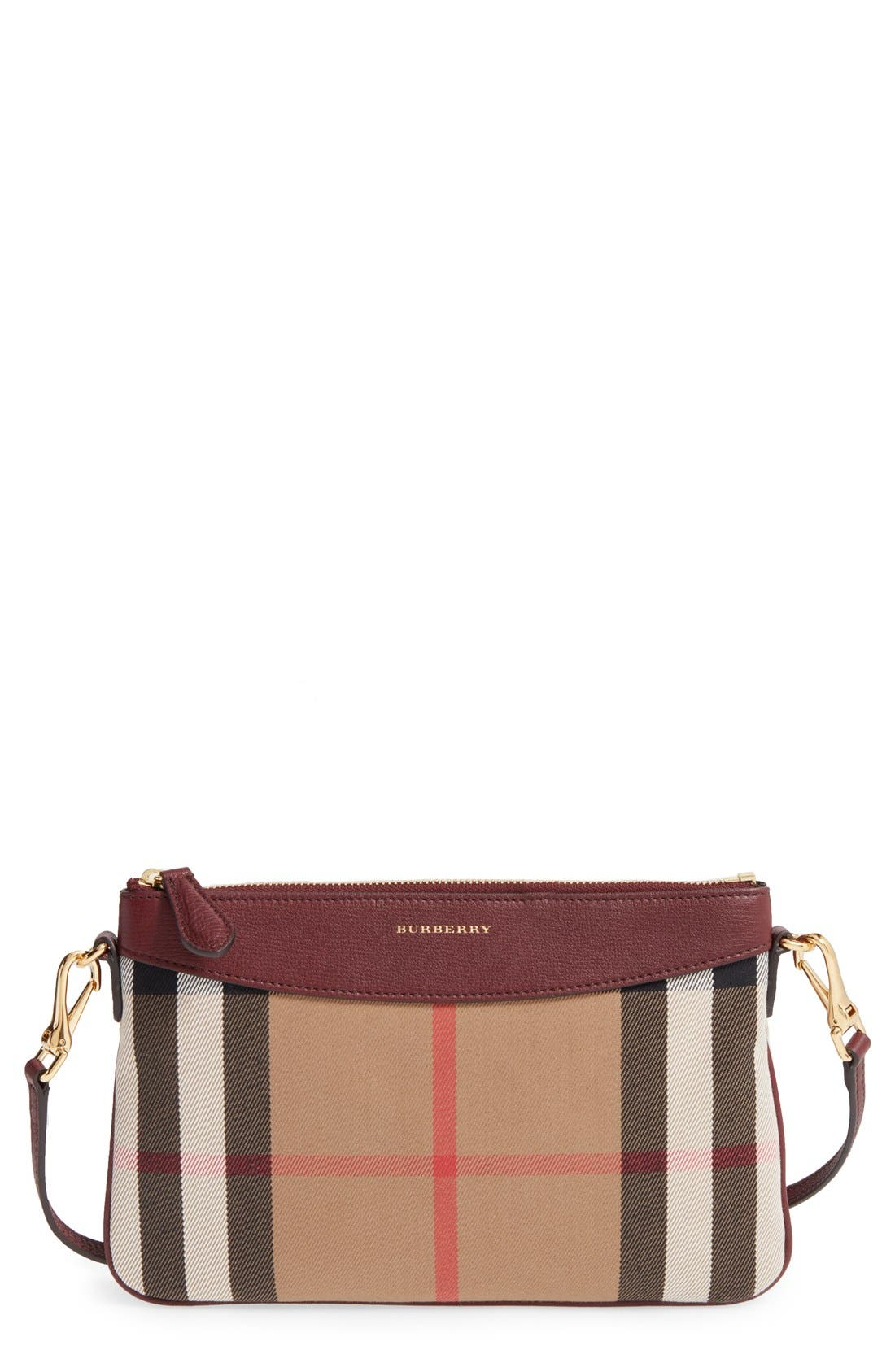 'Peyton - House Check' Crossbody Bag,                             Main thumbnail 1, color,                             606