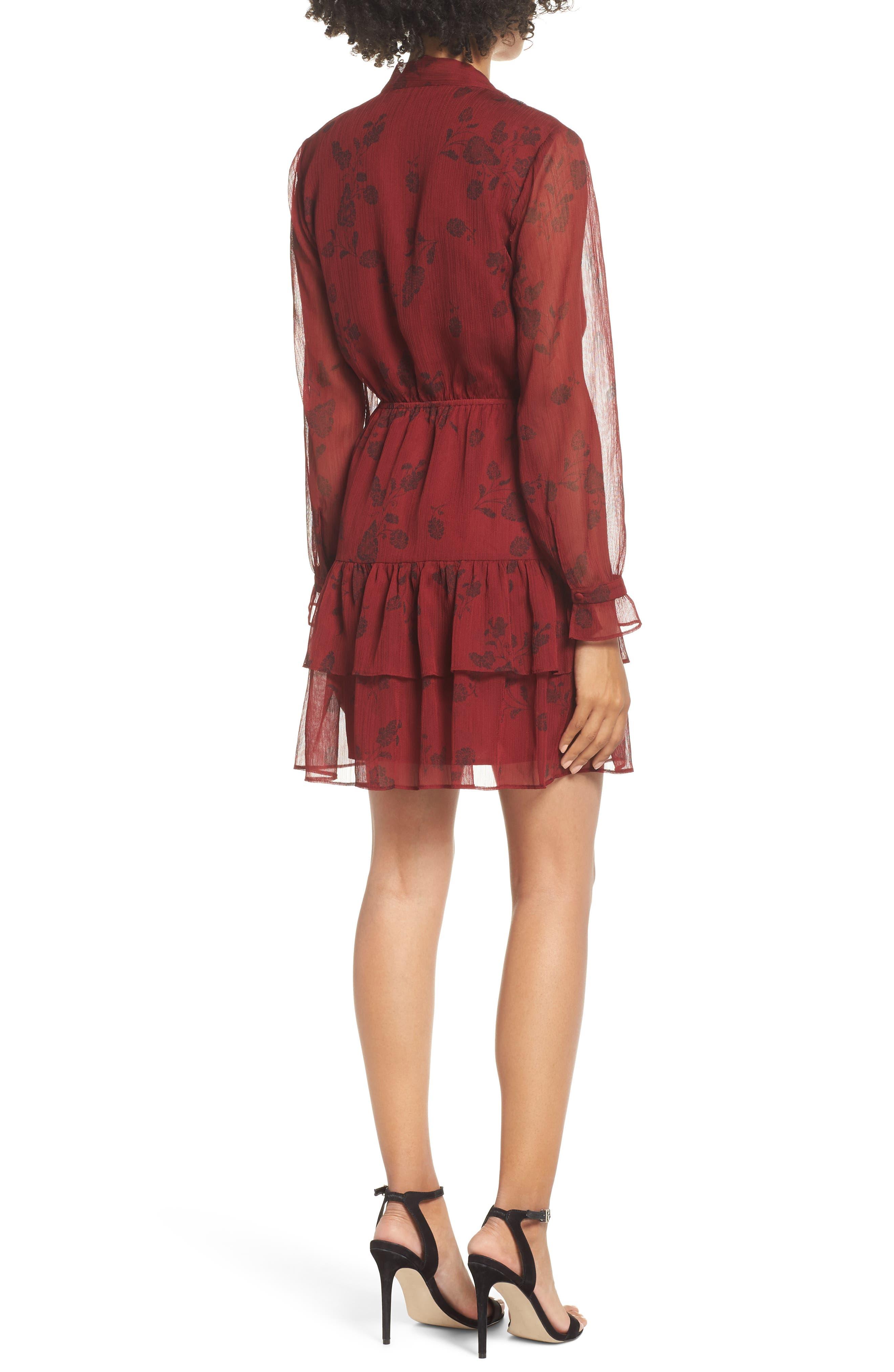 BB DAKOTA,                             Wine Down Print Chiffon Dress,                             Alternate thumbnail 2, color,                             SUNDRIED TOMATO