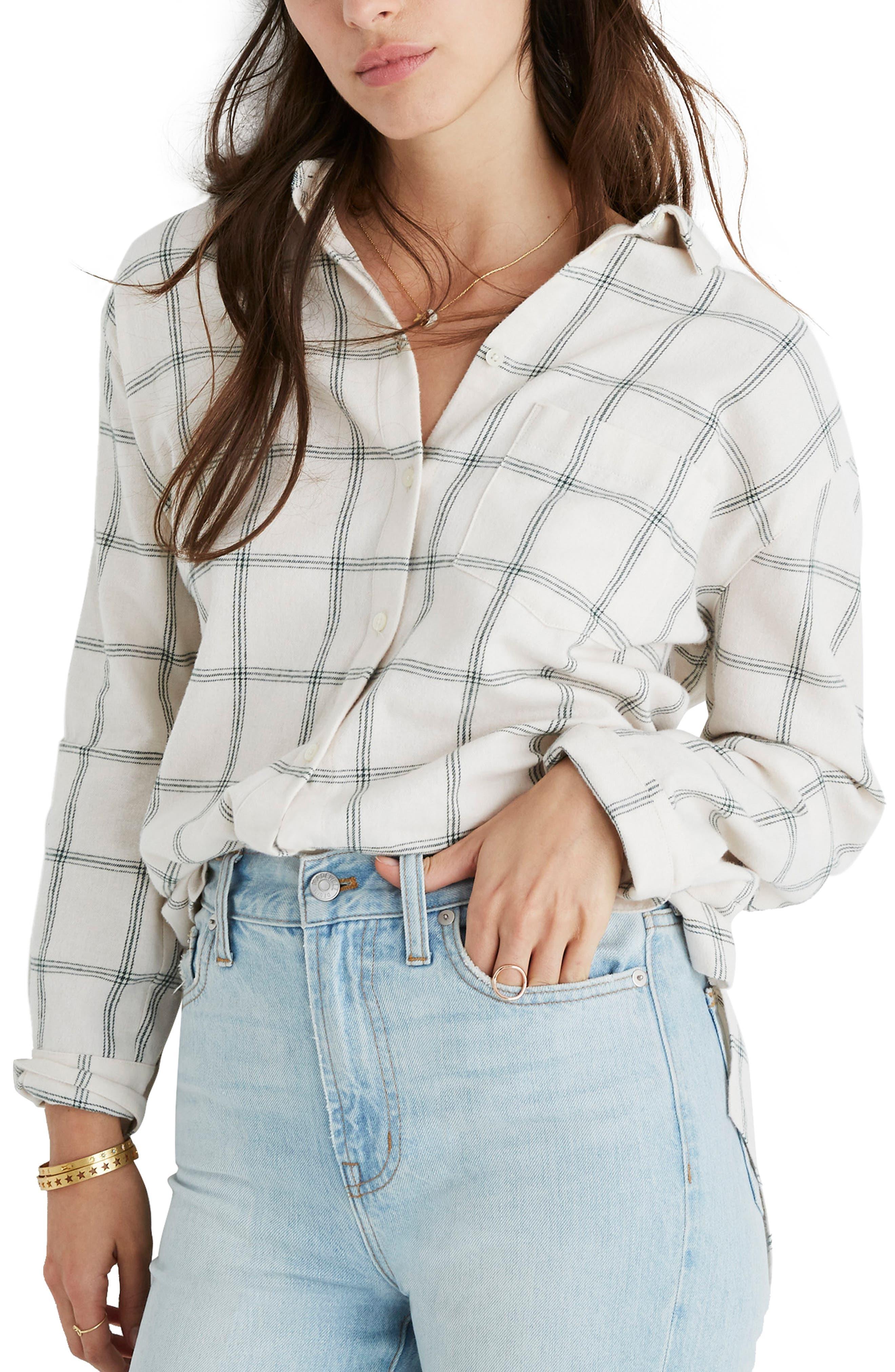 Plus Size Madewell Oversize Ex-Boyfriend Flannel Shirt, Size - Green