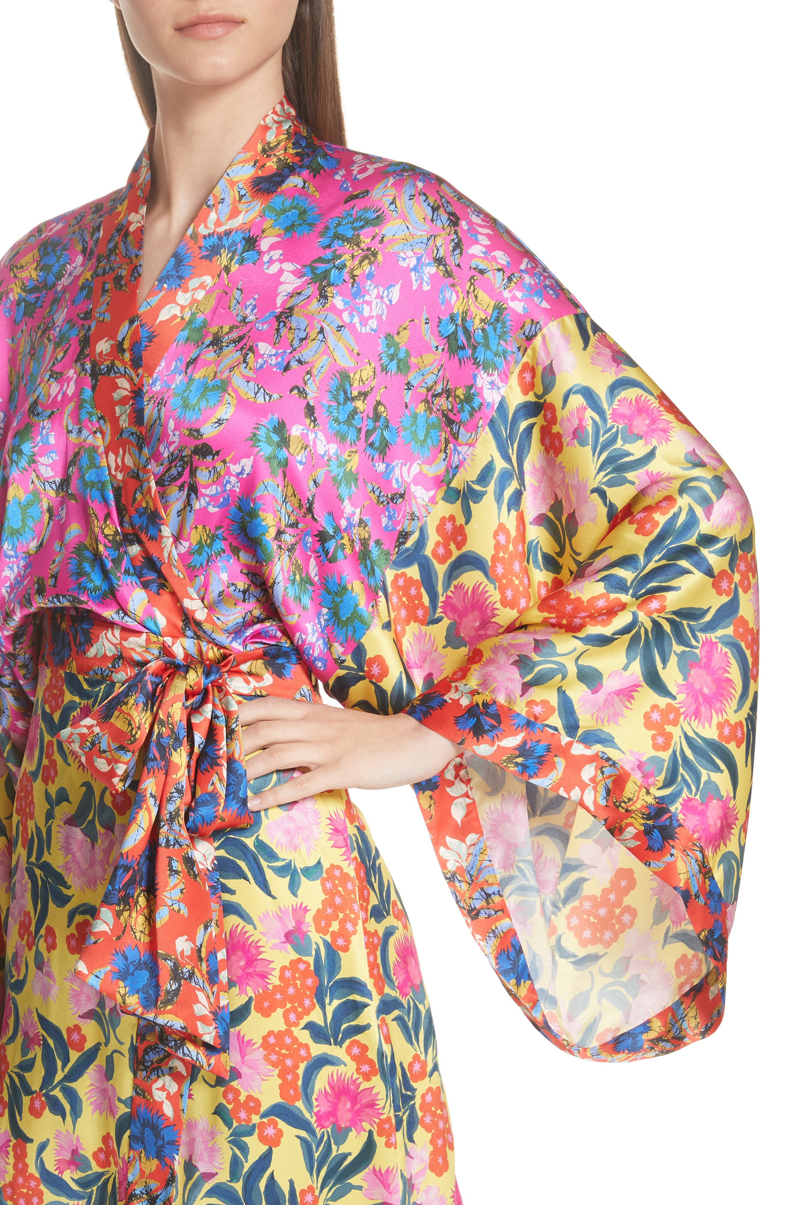 Suki Mixed Floral Silk Wrap Dress,                             Alternate thumbnail 4, color,                             YELLOW AZALEA