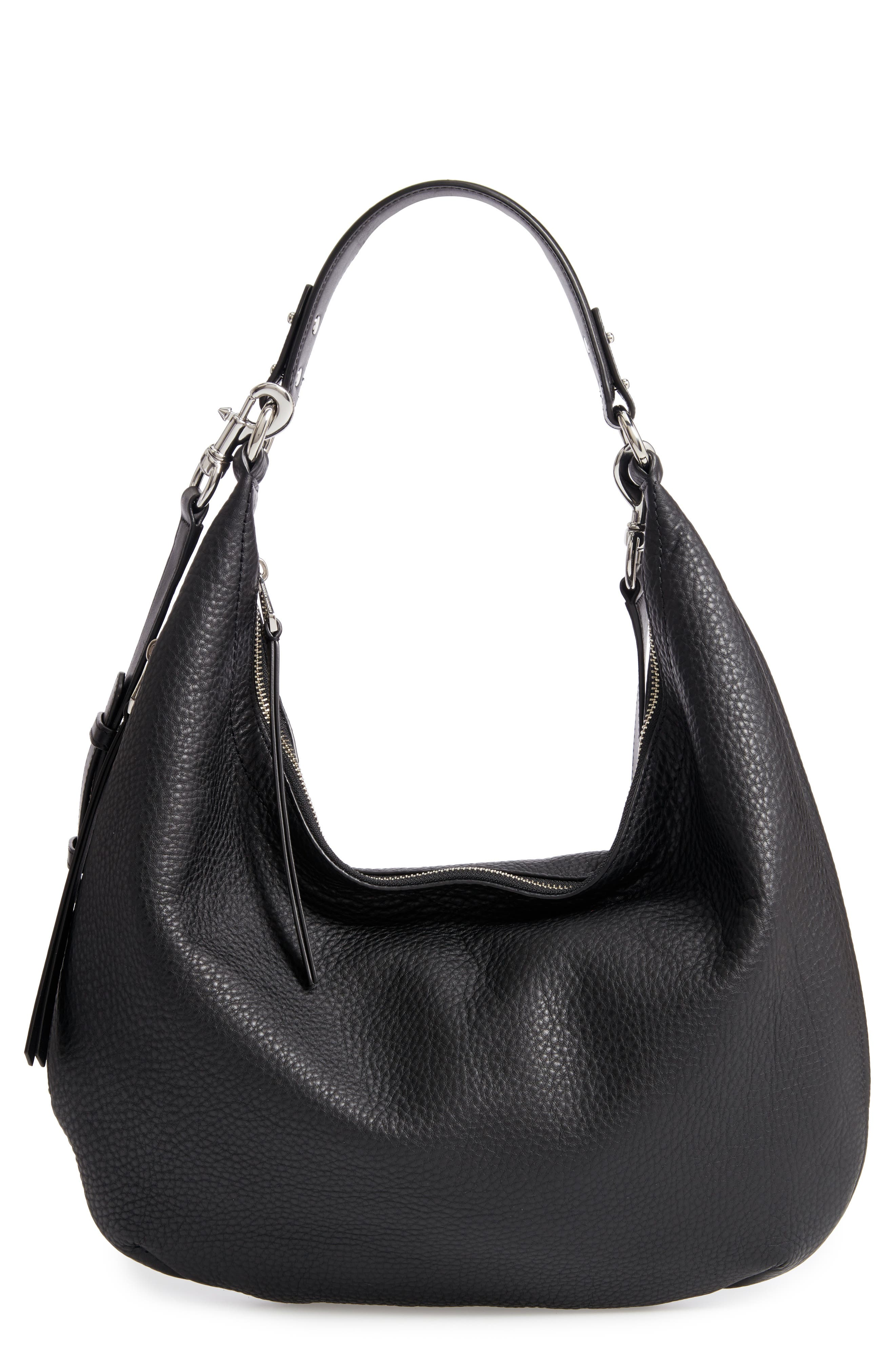 Michelle Leather Hobo,                         Main,                         color, JET BLACK