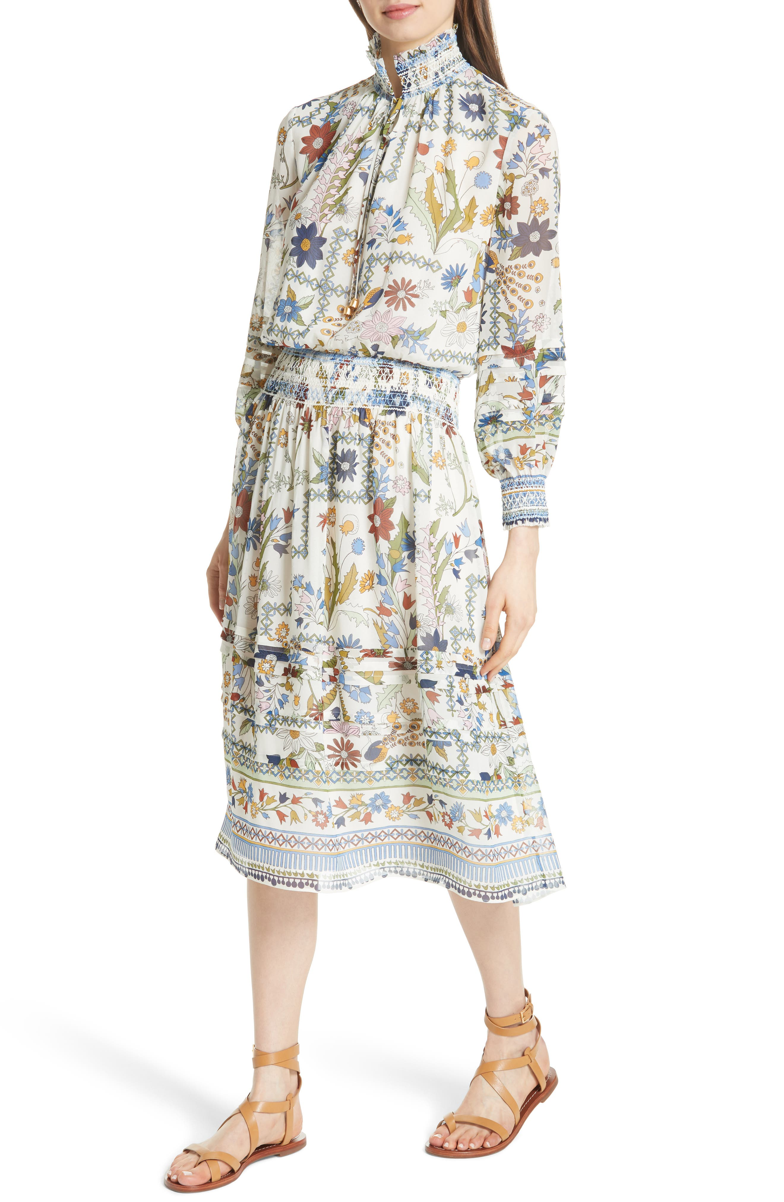 Waverly Floral Print Silk Midi Dress,                             Alternate thumbnail 4, color,                             902