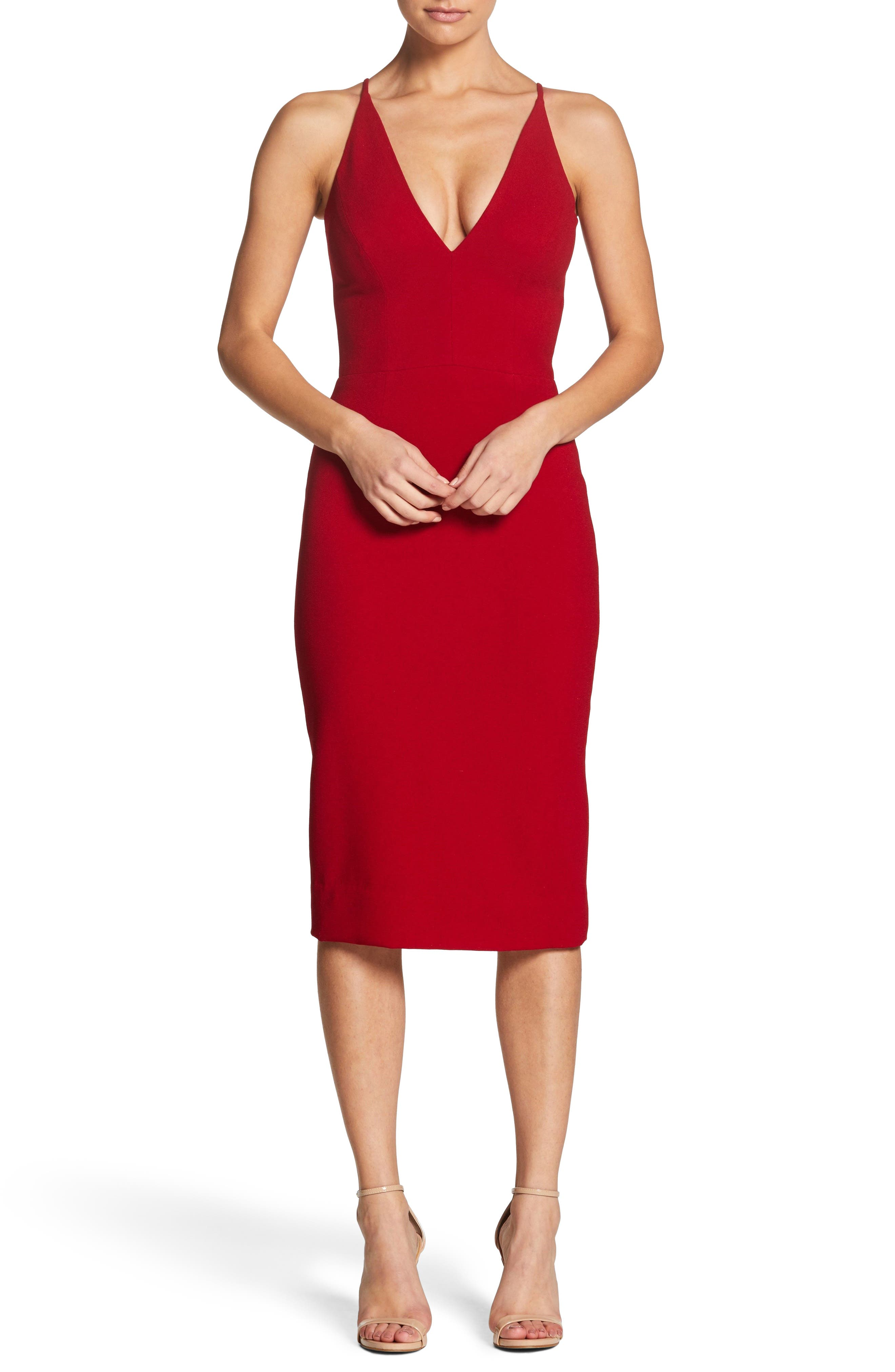 Dress The Population Lyla Crepe Sheath Dress, Red