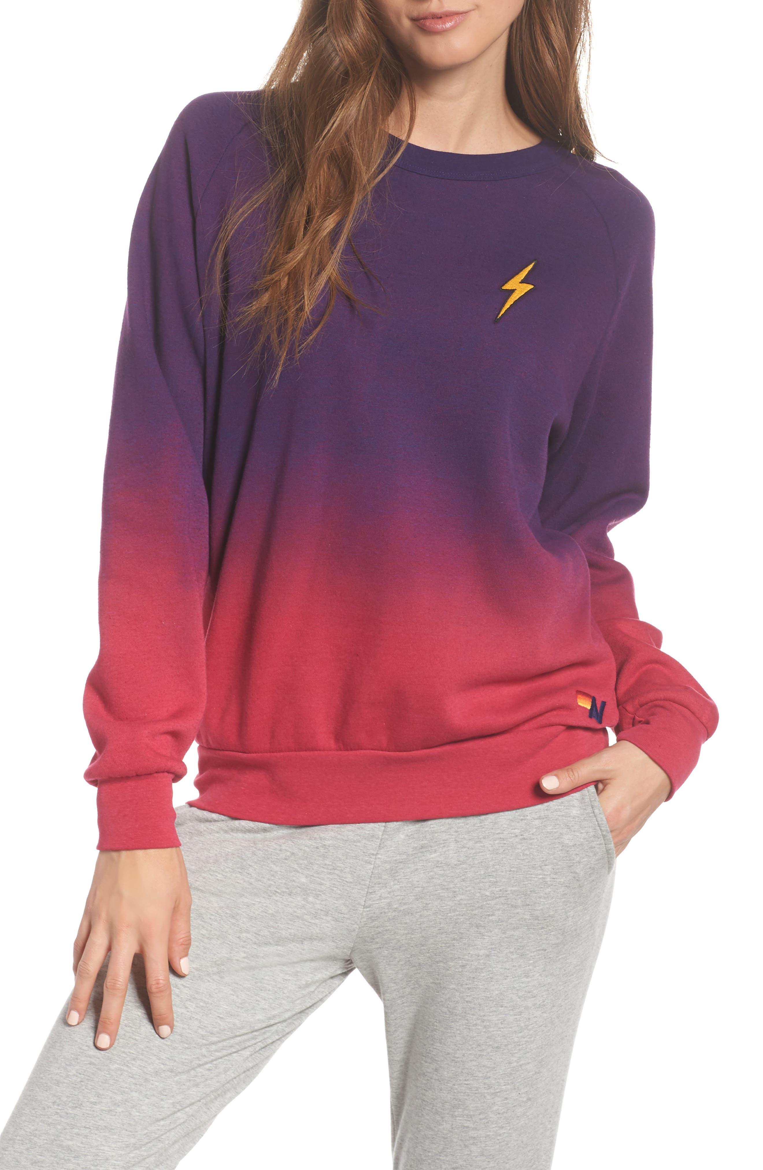 AVIATOR NATION Faded Bolt Sweatshirt in Rose / Purple