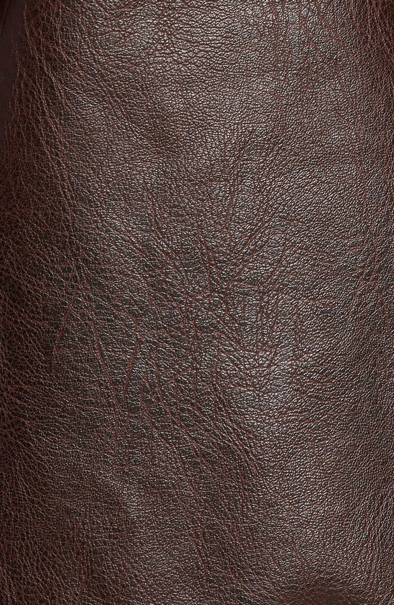 Vintage Faux Leather Racer Jacket,                             Alternate thumbnail 6, color,                             DISTRESSED BROWN