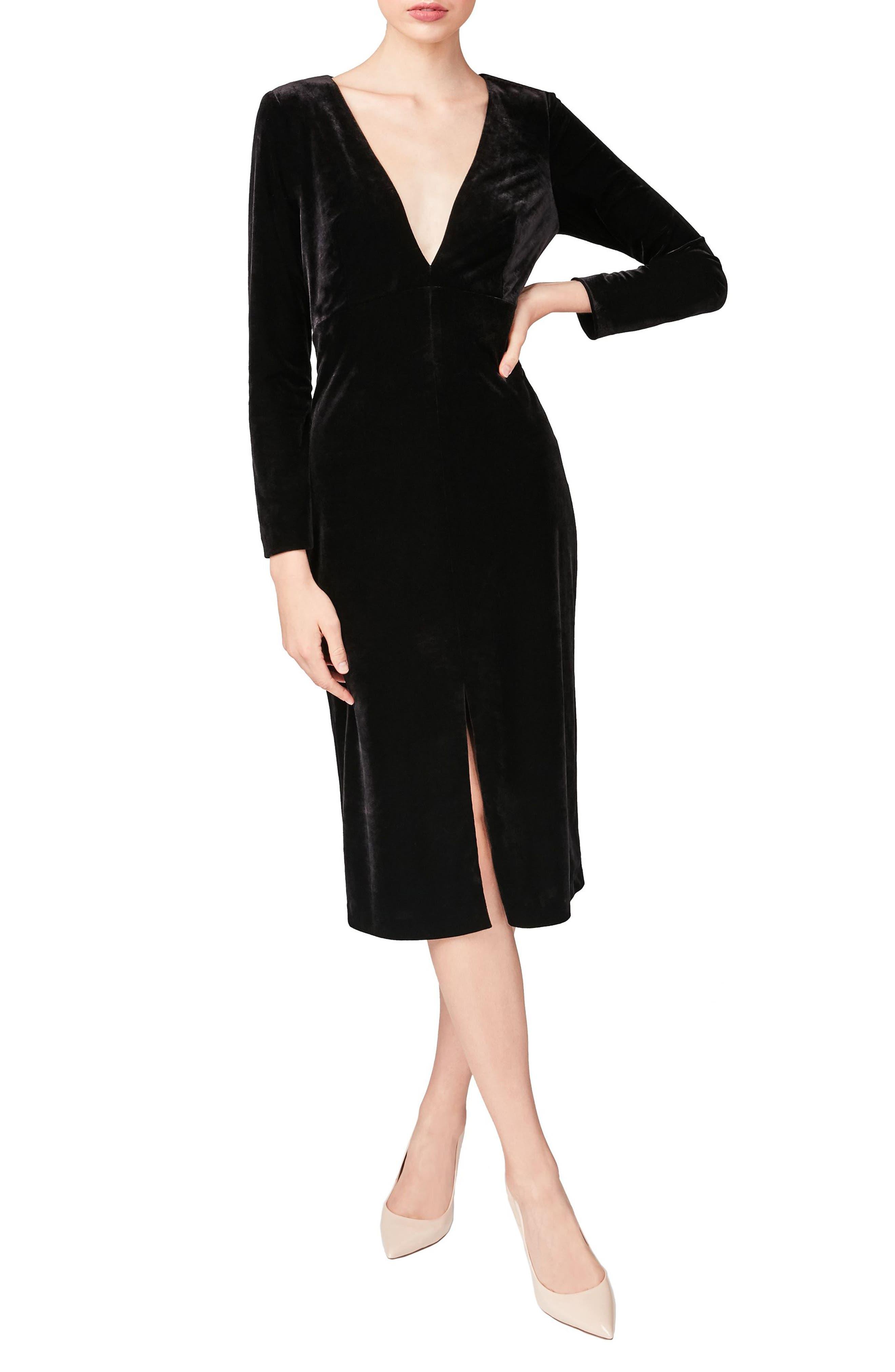 Velvet Sheath Dress,                             Main thumbnail 1, color,                             001