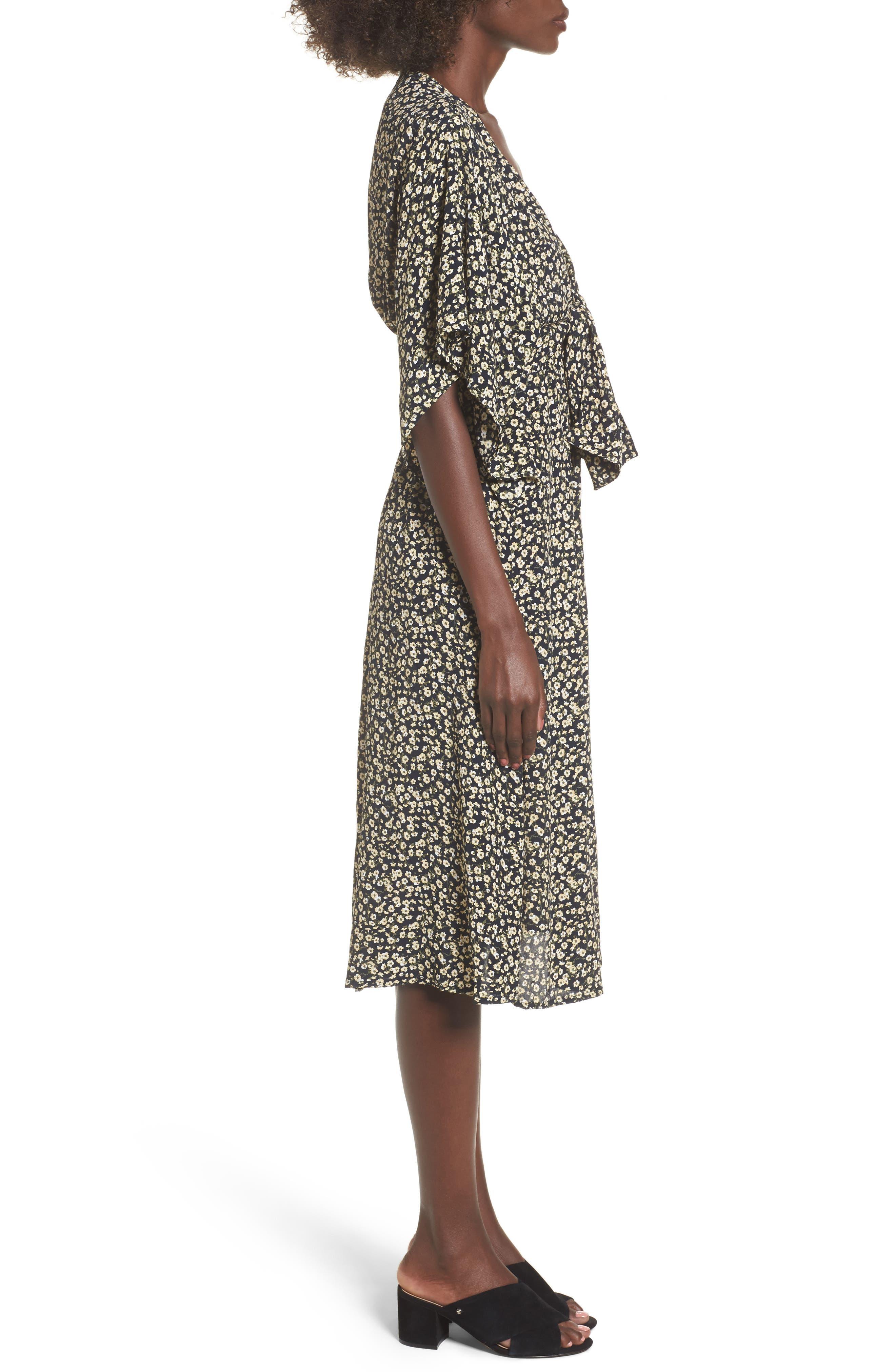 Massimo Tie Front Midi Dress,                             Alternate thumbnail 3, color,                             700