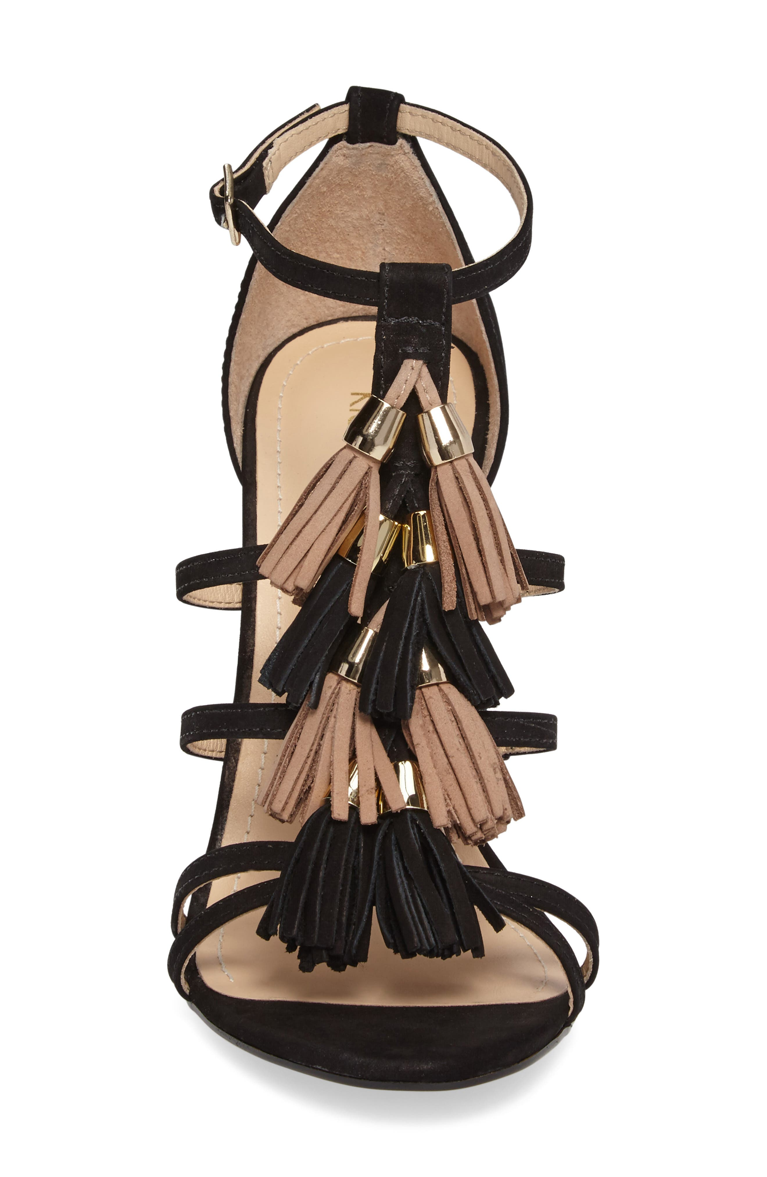 Myra Tassel Sandal,                             Alternate thumbnail 4, color,                             001