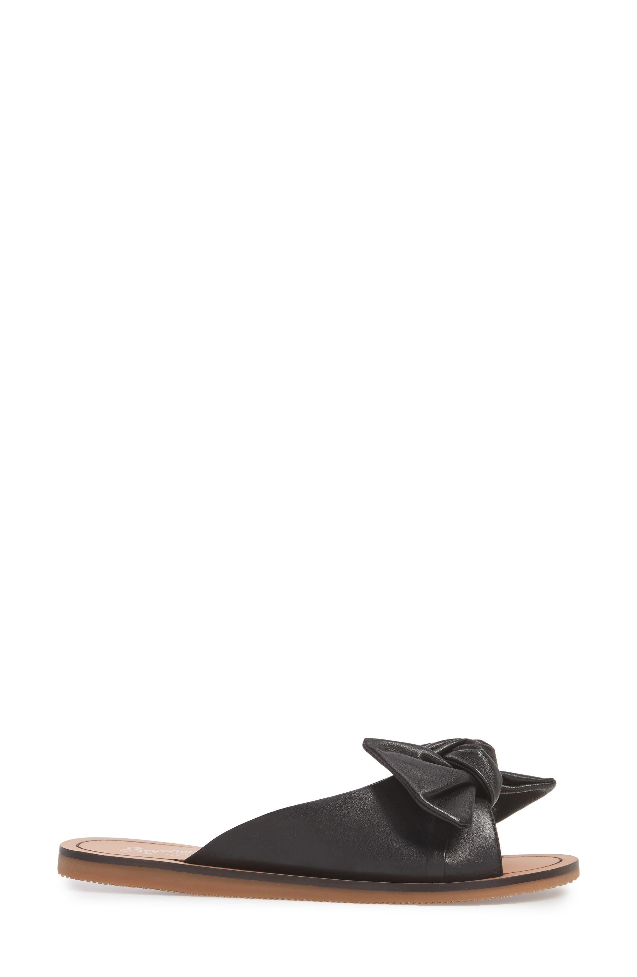 Childlike Enthusiam Slide Sandal,                             Alternate thumbnail 3, color,                             BLACK LEATHER