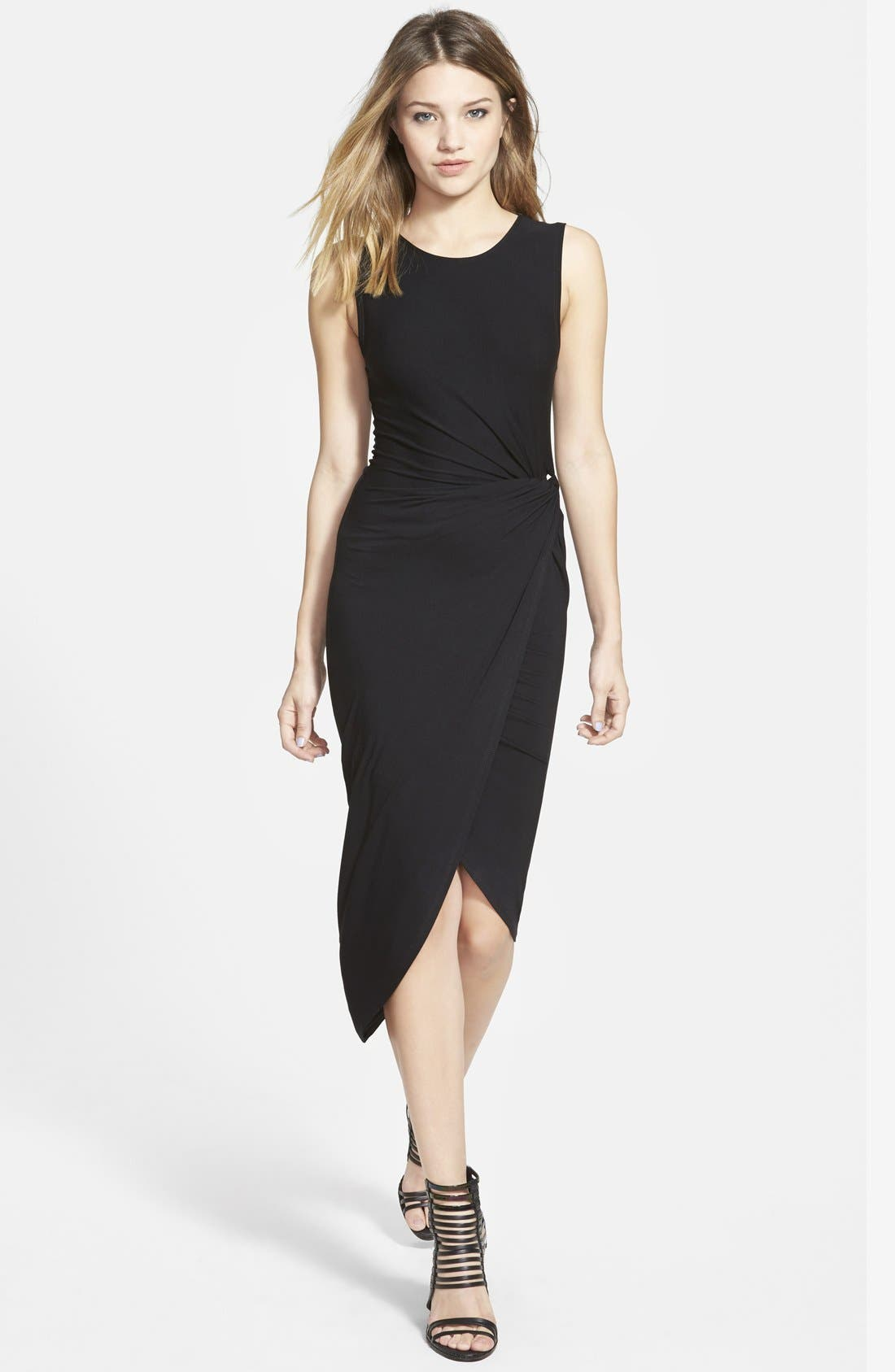 ASTR Knotted Body-Con Dress,                             Main thumbnail 1, color,                             001