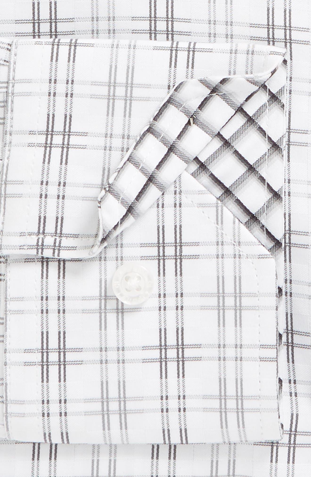 Regular Fit Check Dress Shirt,                             Alternate thumbnail 6, color,                             GREY