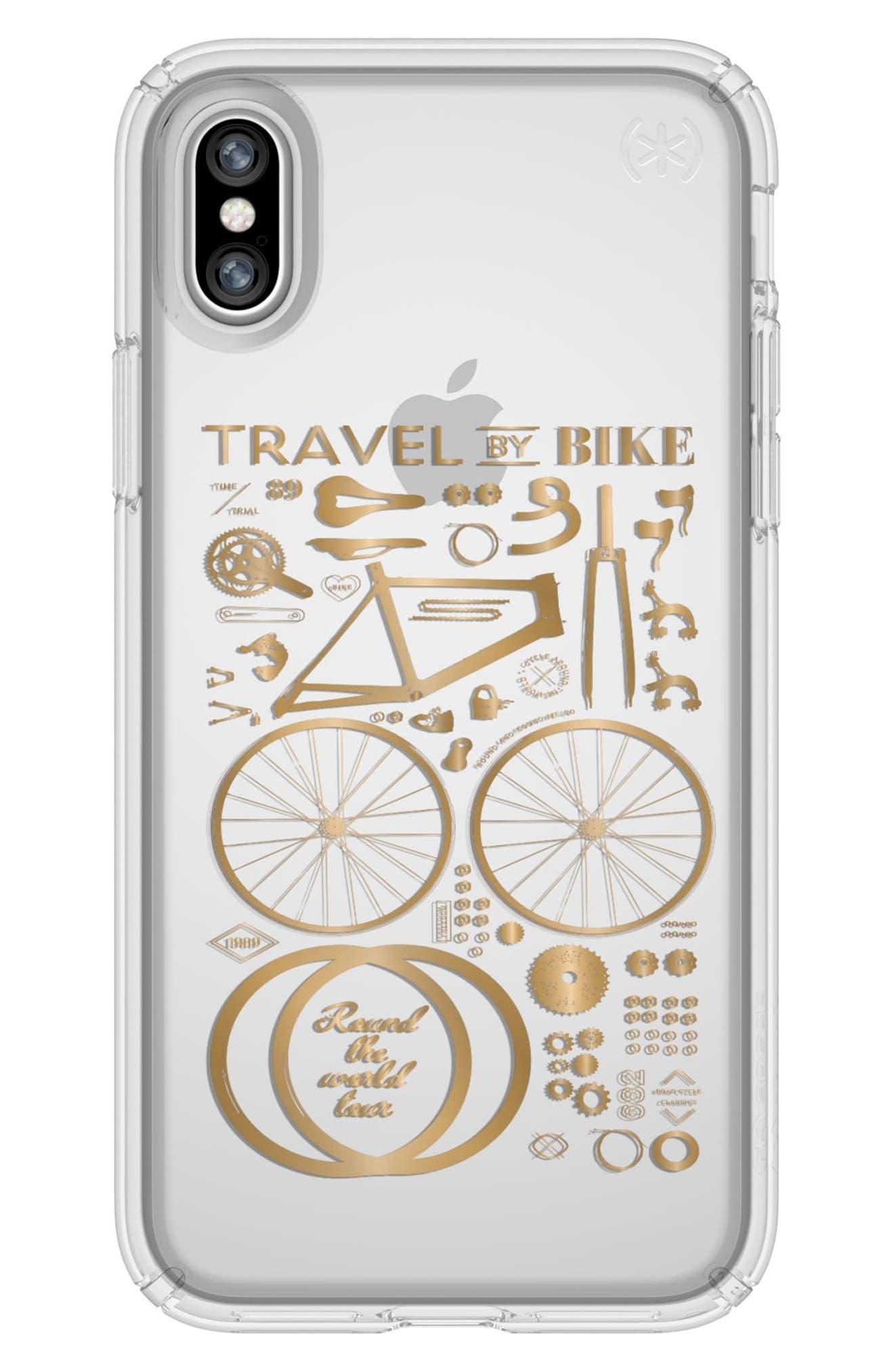 Metallic City Bike Transparent iPhone X Case,                             Main thumbnail 1, color,                             712