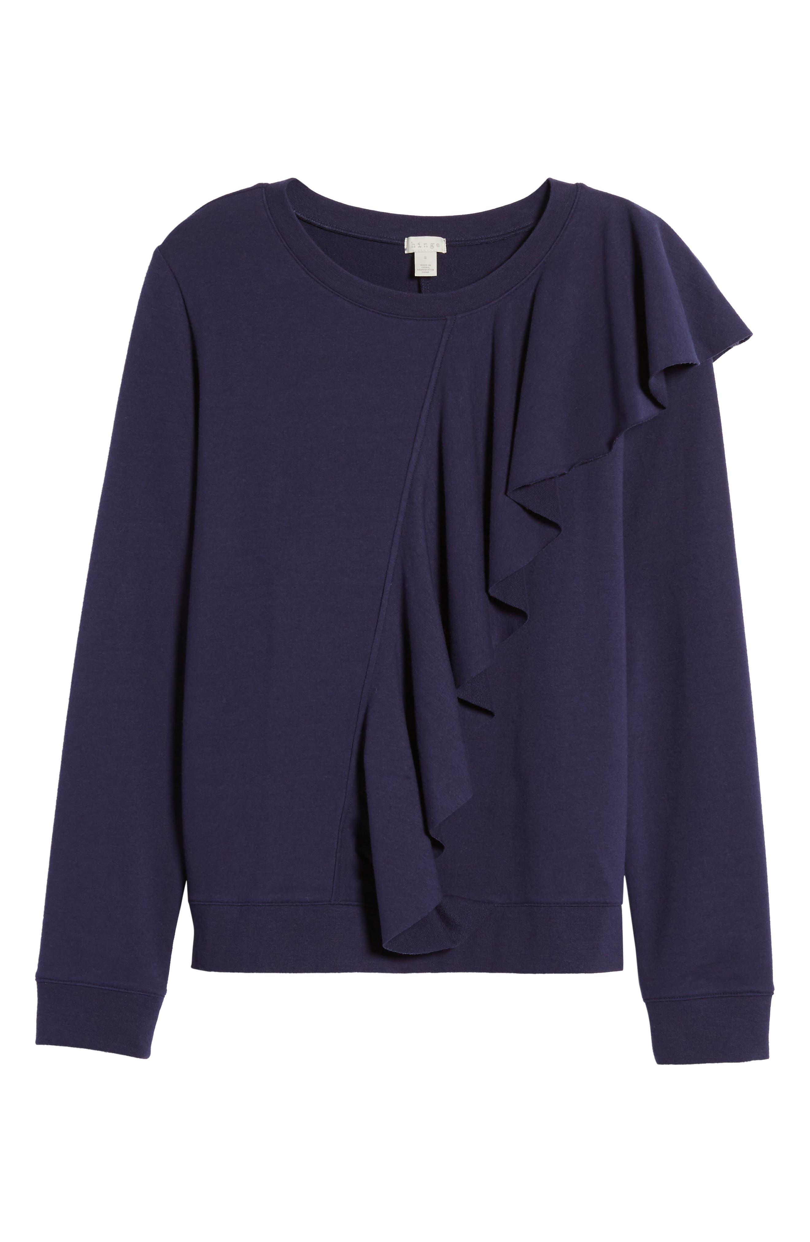 Asymmetrical Ruffle Sweatshirt,                             Alternate thumbnail 6, color,                             400