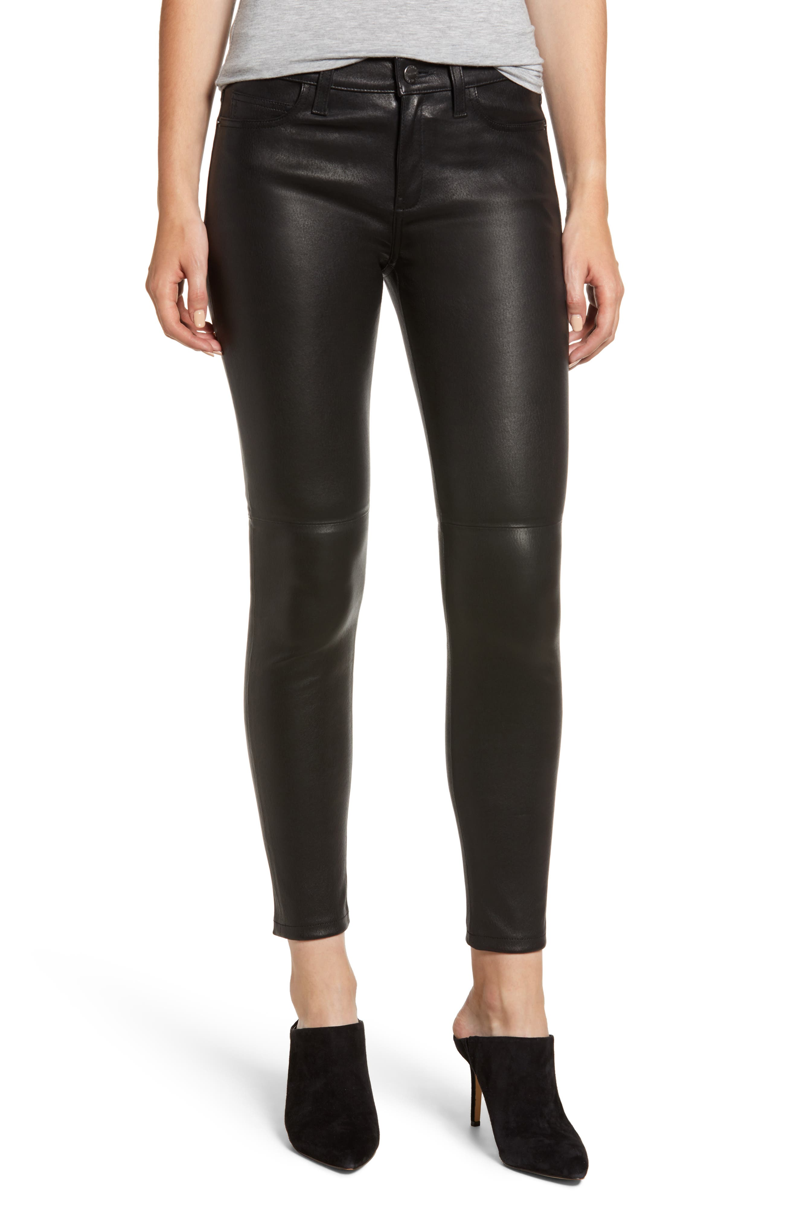 CURRENT ELLIOTT The Stiletto Ankle Skinny Lambskin Leather Pants in Black