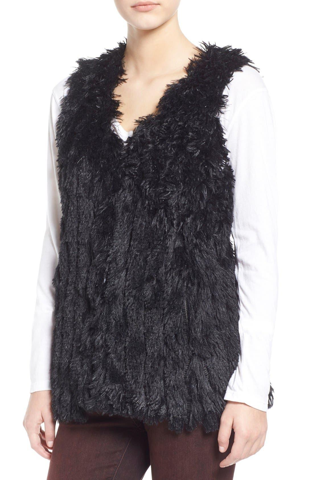 Faux Fur Vest,                             Alternate thumbnail 2, color,                             001