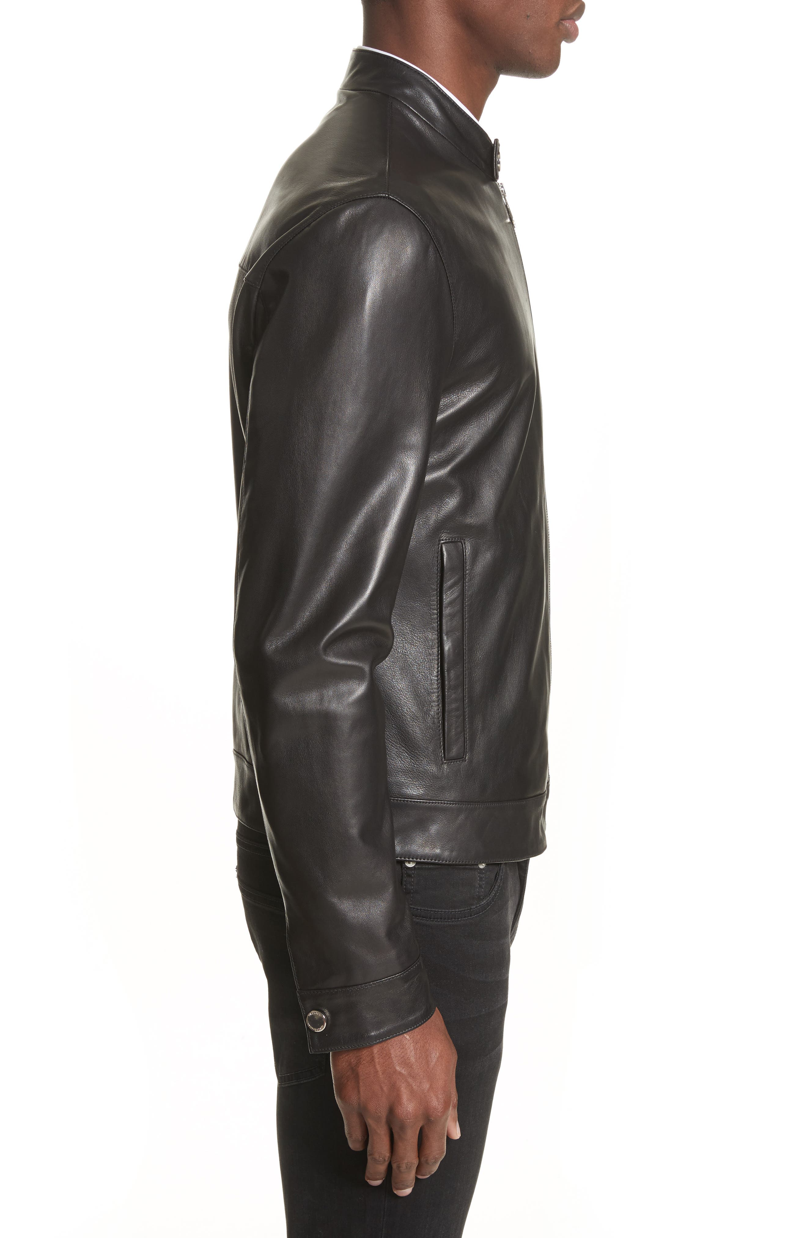 Band Collar Leather Jacket,                             Alternate thumbnail 3, color,                             130