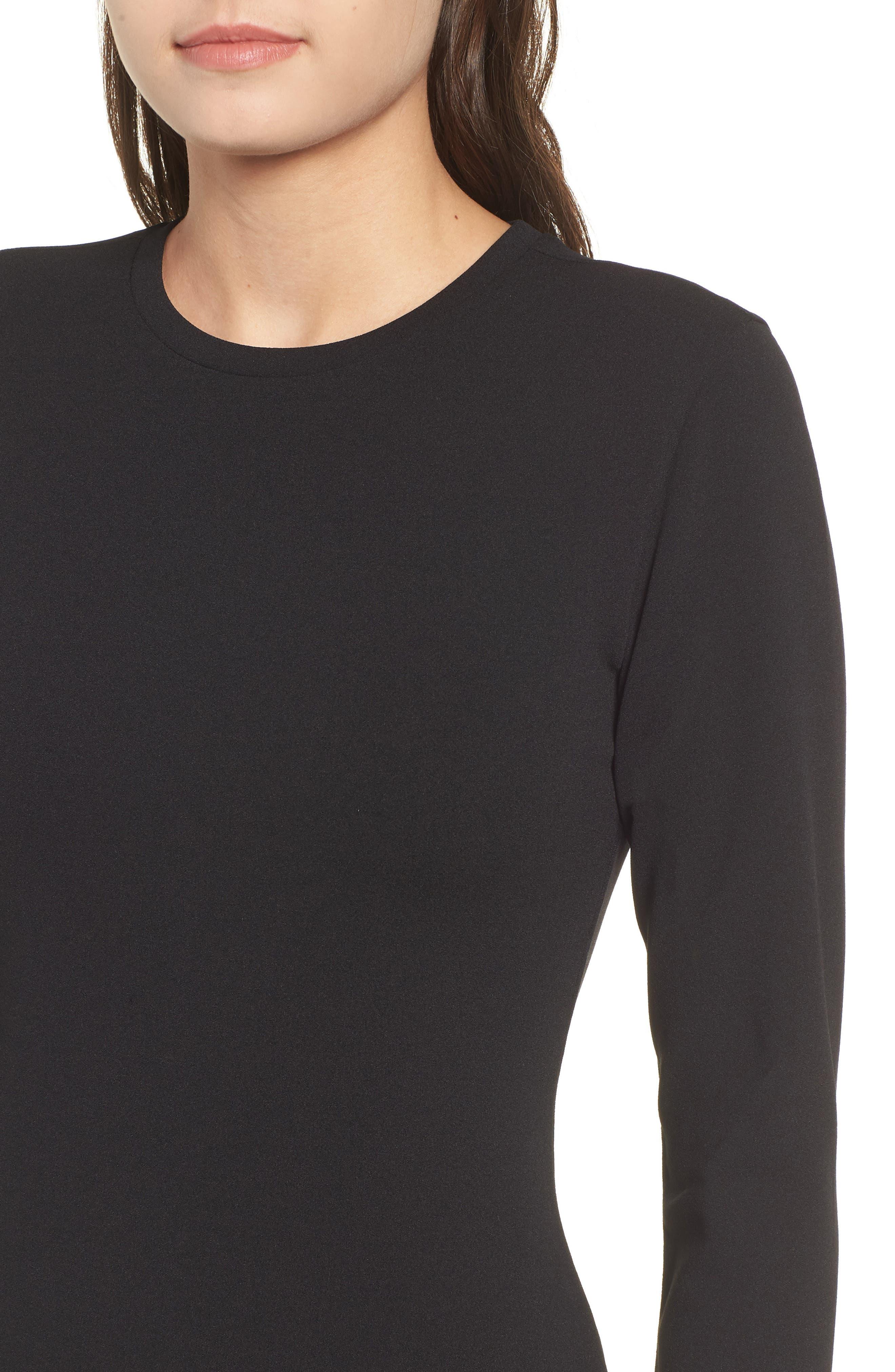 Long Sleeve Body-Con Dress,                             Alternate thumbnail 4, color,                             001